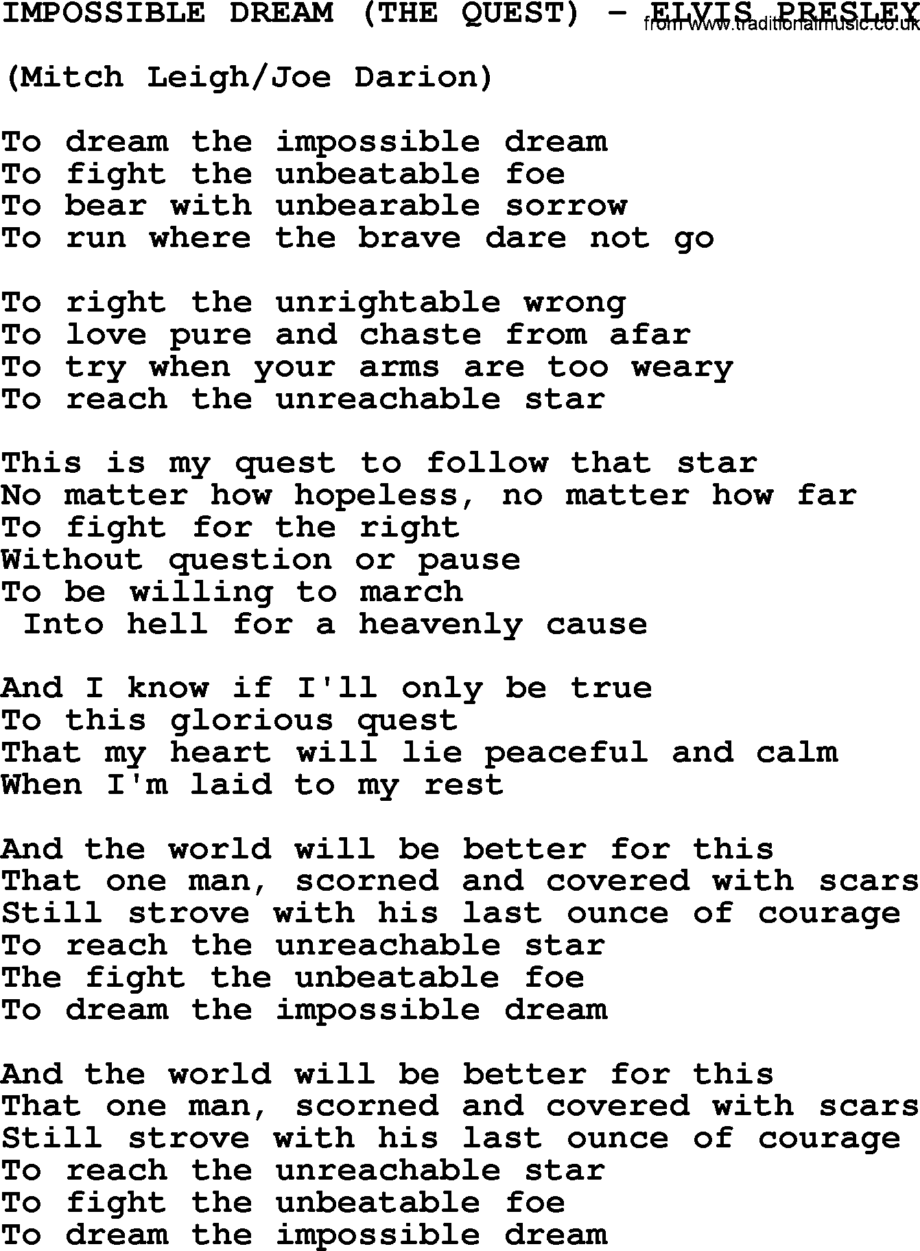 Impossible Dream The QuestElvis Presleytxt By Elvis Presley - Impossible poem