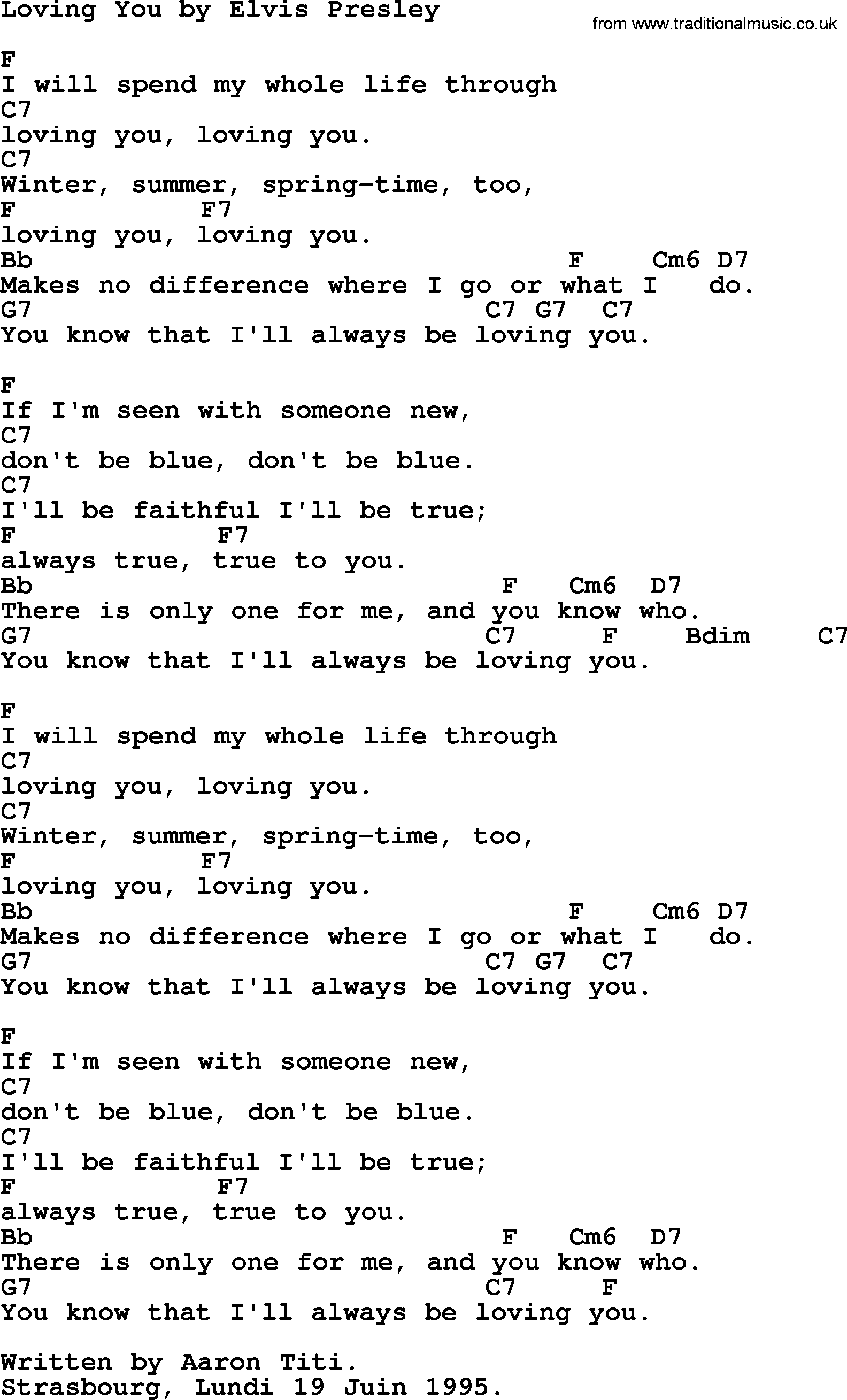 Loving You By Elvis Presley Lyrics And Chords