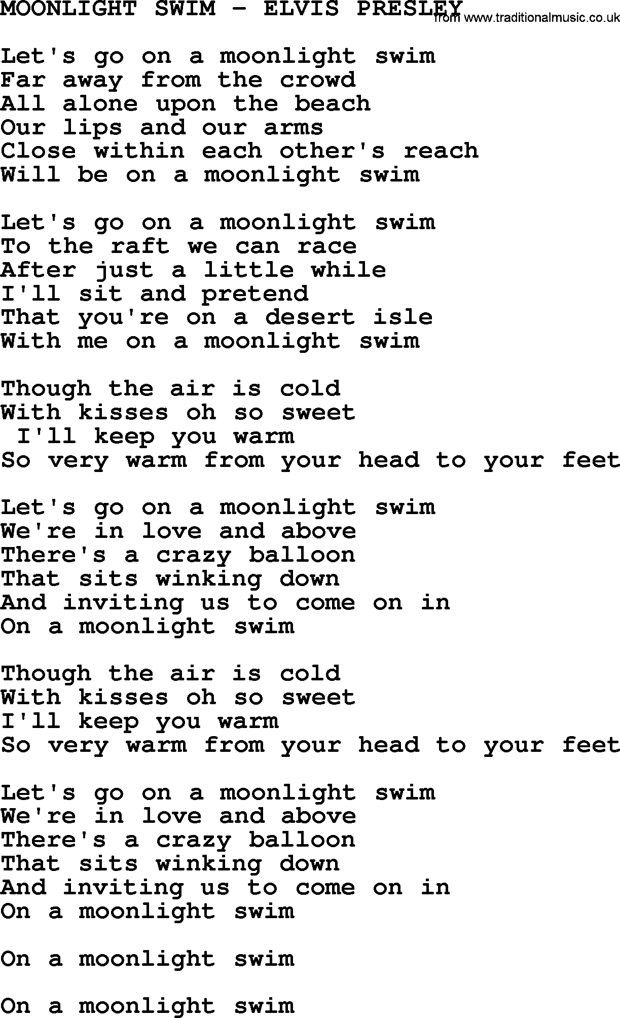 Moonlight swim elvis presley txt by elvis presley lyrics and chords for Swimming swimming in the swimming pool song lyrics