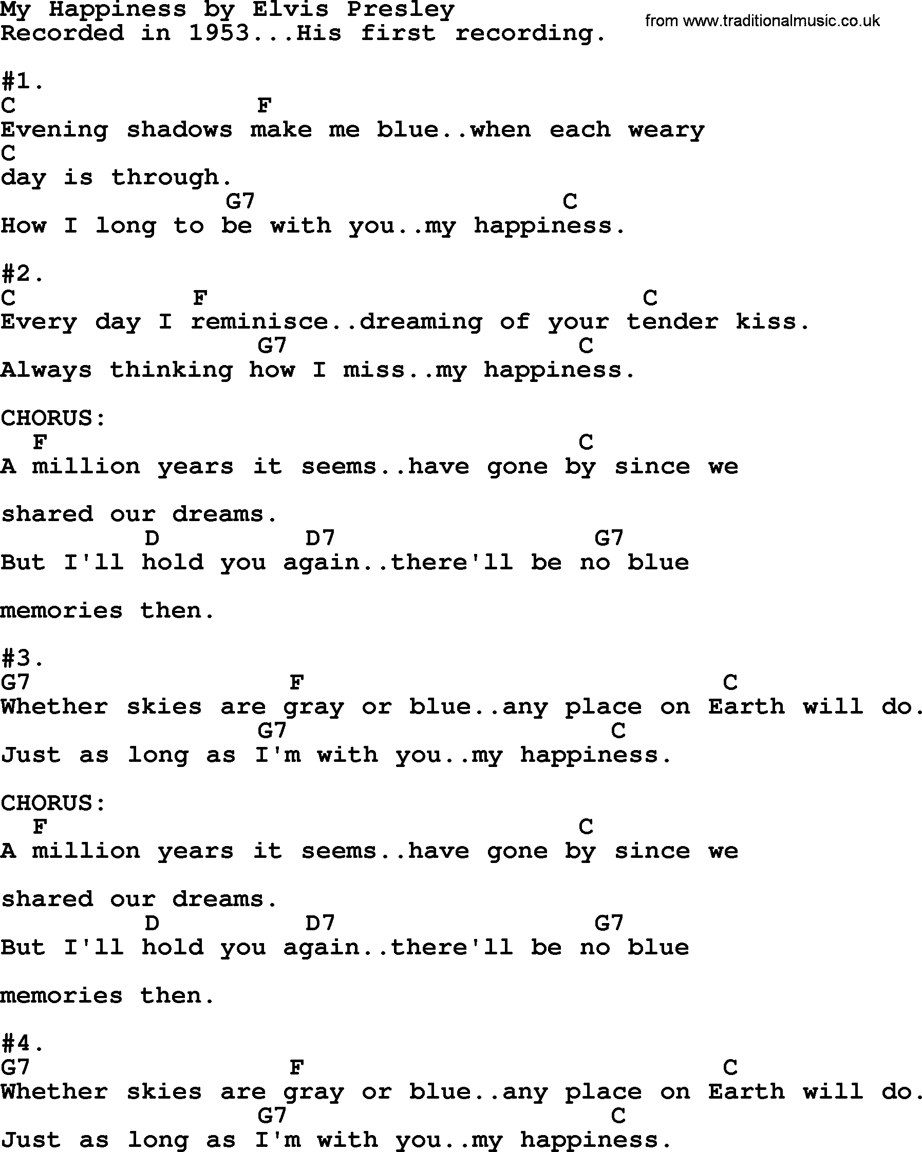 My Happiness By Elvis Presley Lyrics And Chords