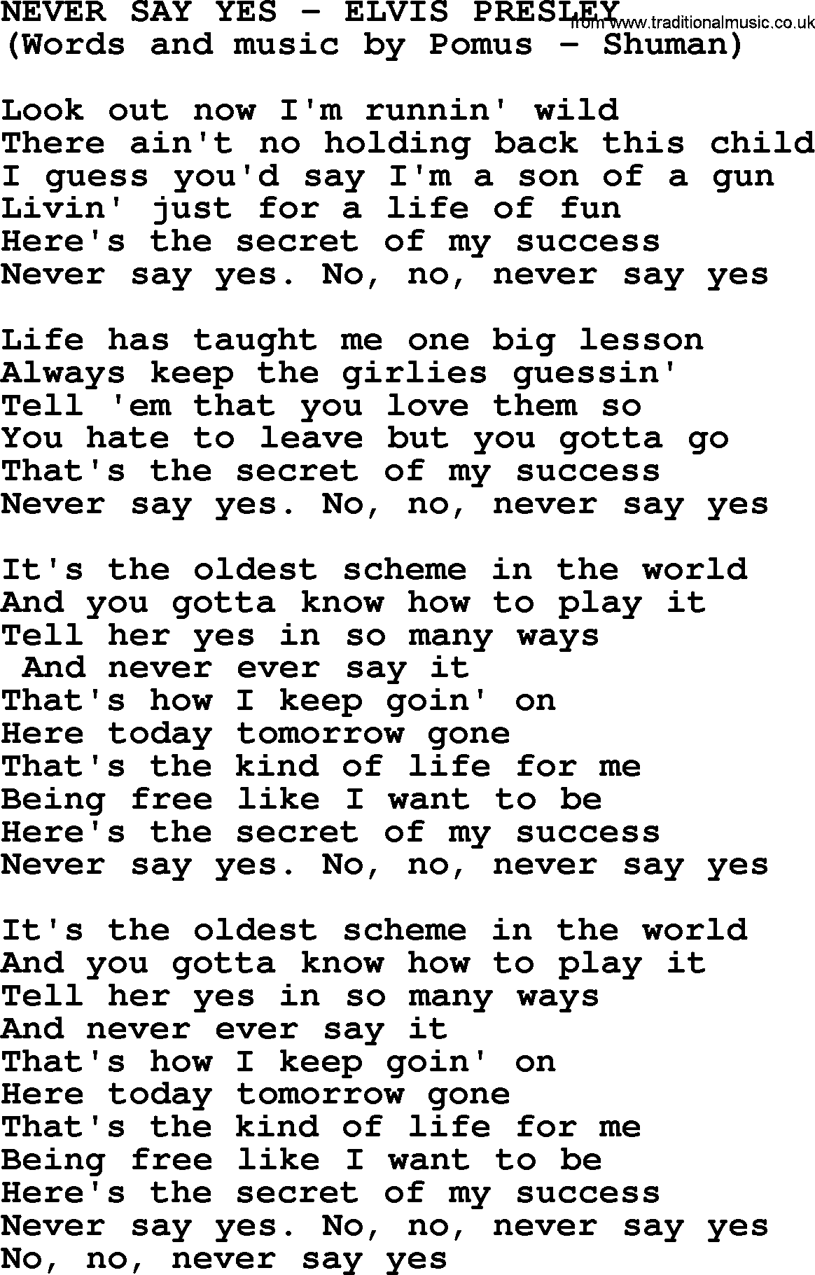 Never Say Yes By Elvis Presley Lyrics