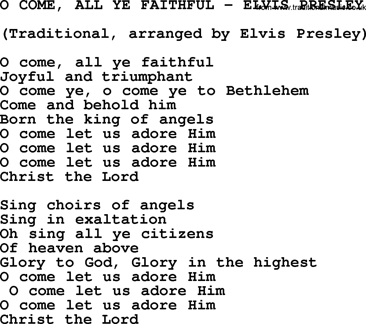 O Come All Ye Faithful Elvis Presley Txt By Elvis Presley