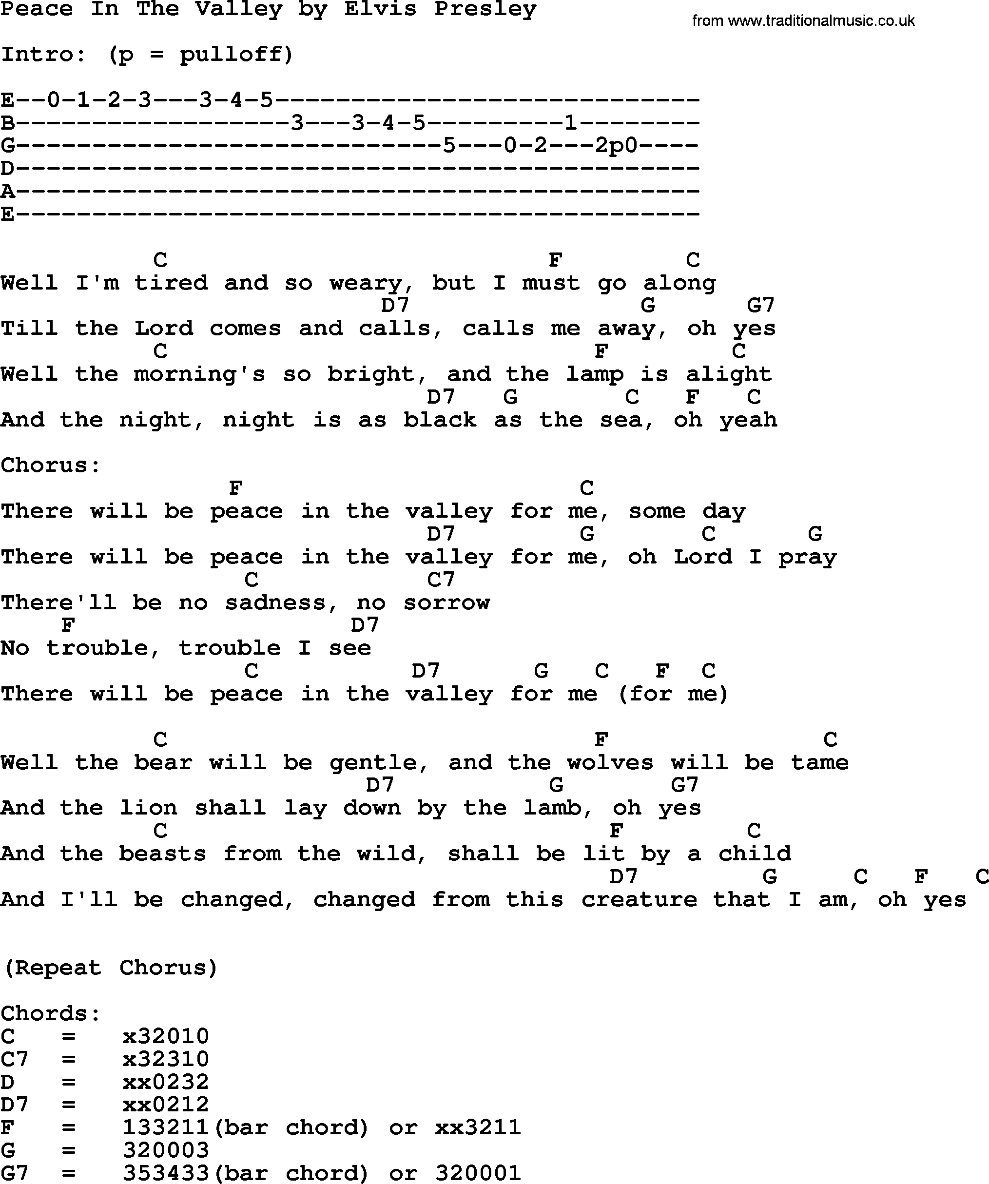 Peace In The Valley By Elvis Presley Lyrics And Chords
