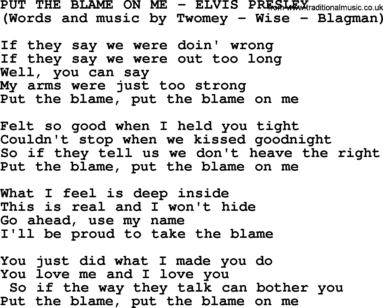 You could put the blame on me lyrics