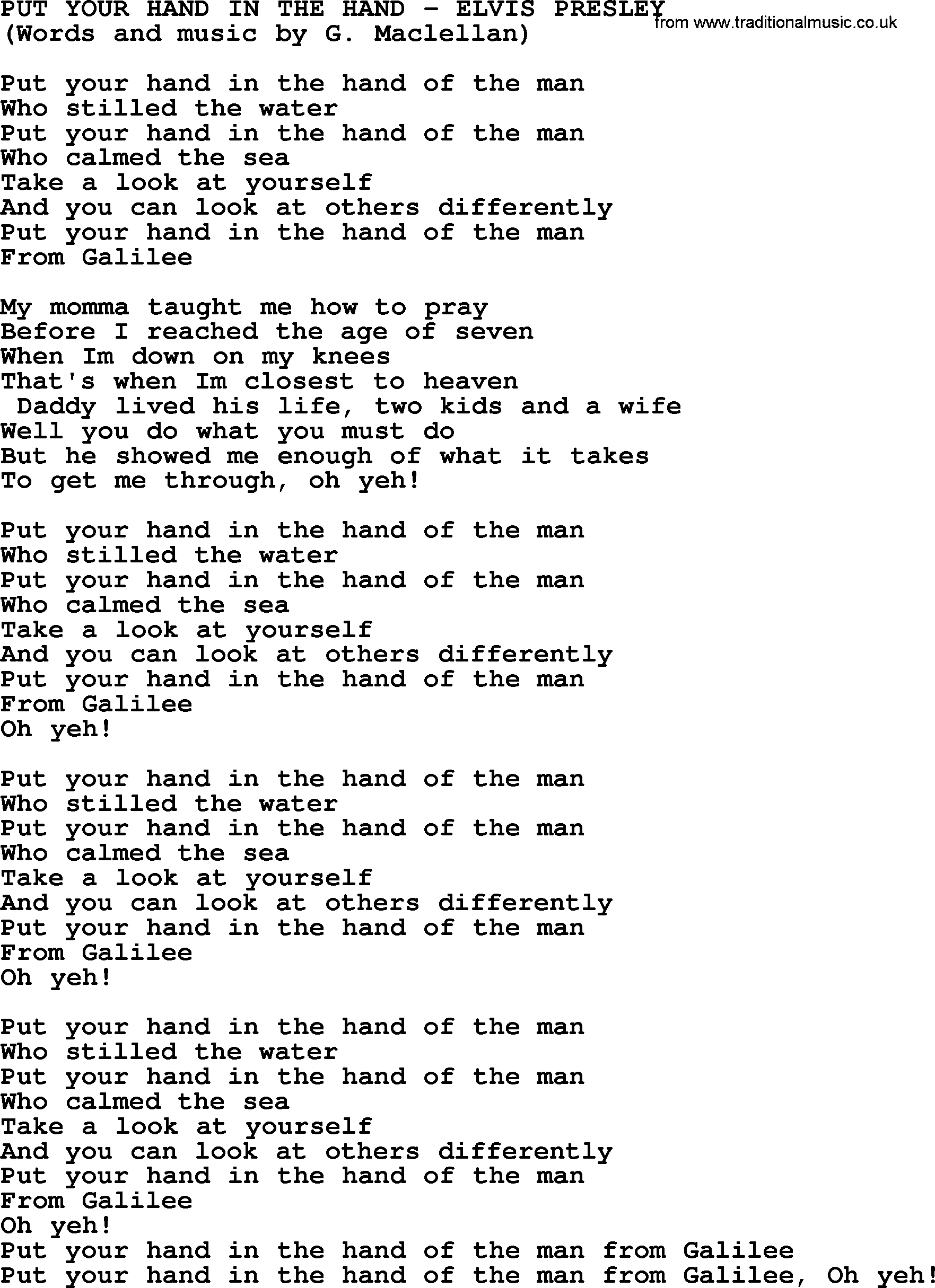 Put Your Hand In The Hand by Elvis Presley   lyrics