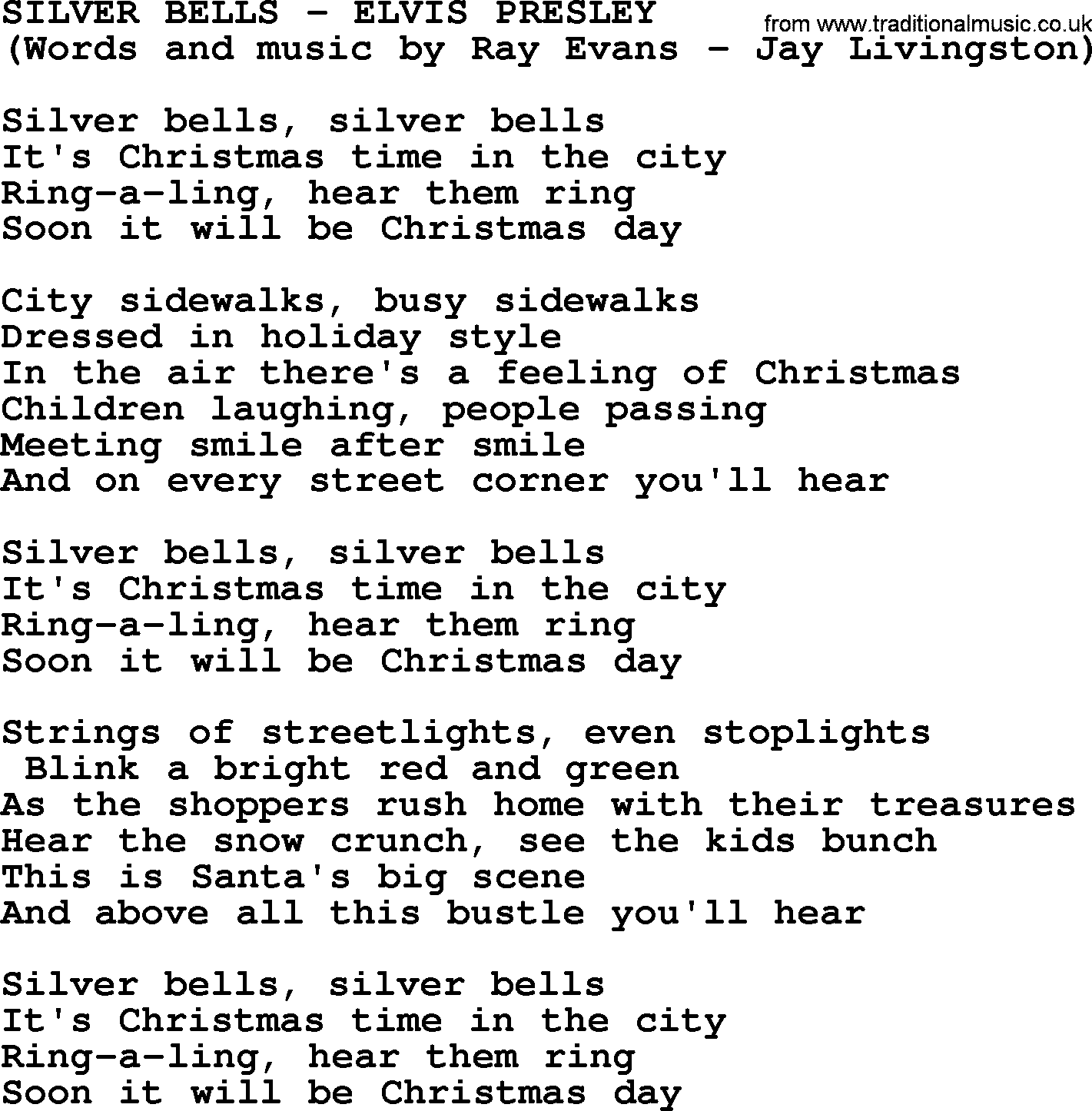 Silver Bells by Elvis Presley - lyrics