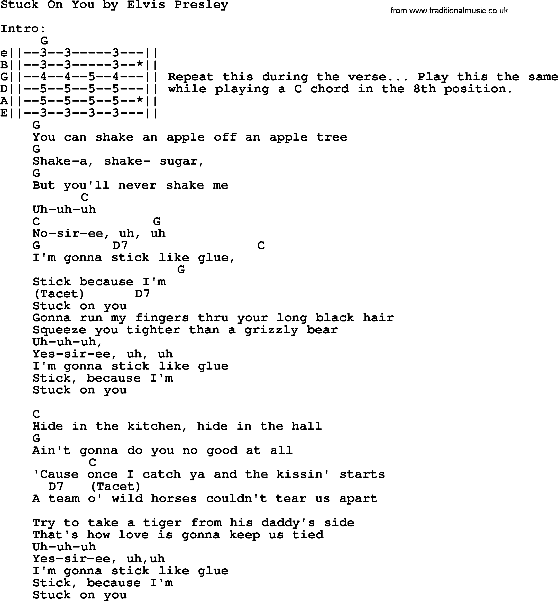 Stuck On You By Elvis Presley Lyrics And Chords