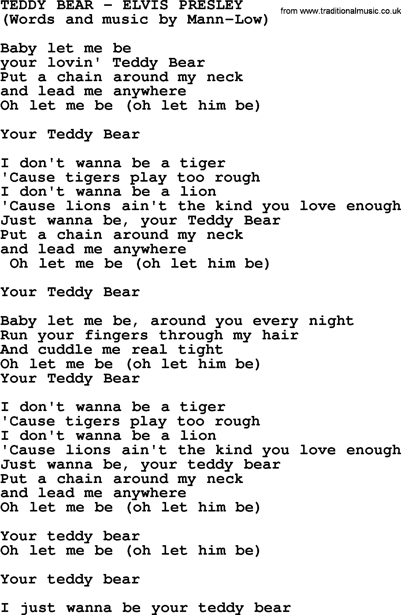 Teddy Bear By Elvis Presley Lyrics