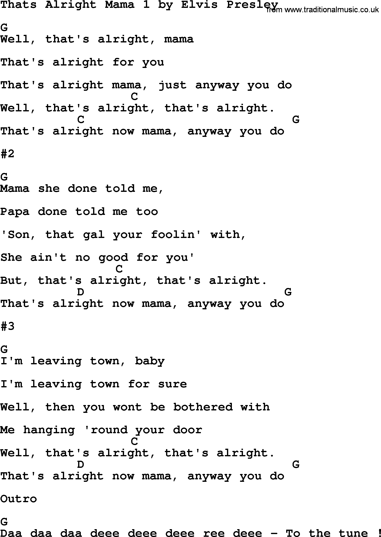 Thats alright mama 1 by elvis presley lyrics and chords elvis presley song thats alright mama 1 lyrics and chords hexwebz Images