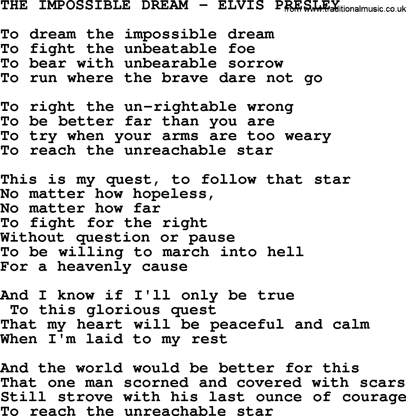 """to dream the impossible dream From: """"man of la mancha"""" the impossible dream (the quest) for ttb and  piano by mitch leigh lyrics by: joe darion published under license from."""