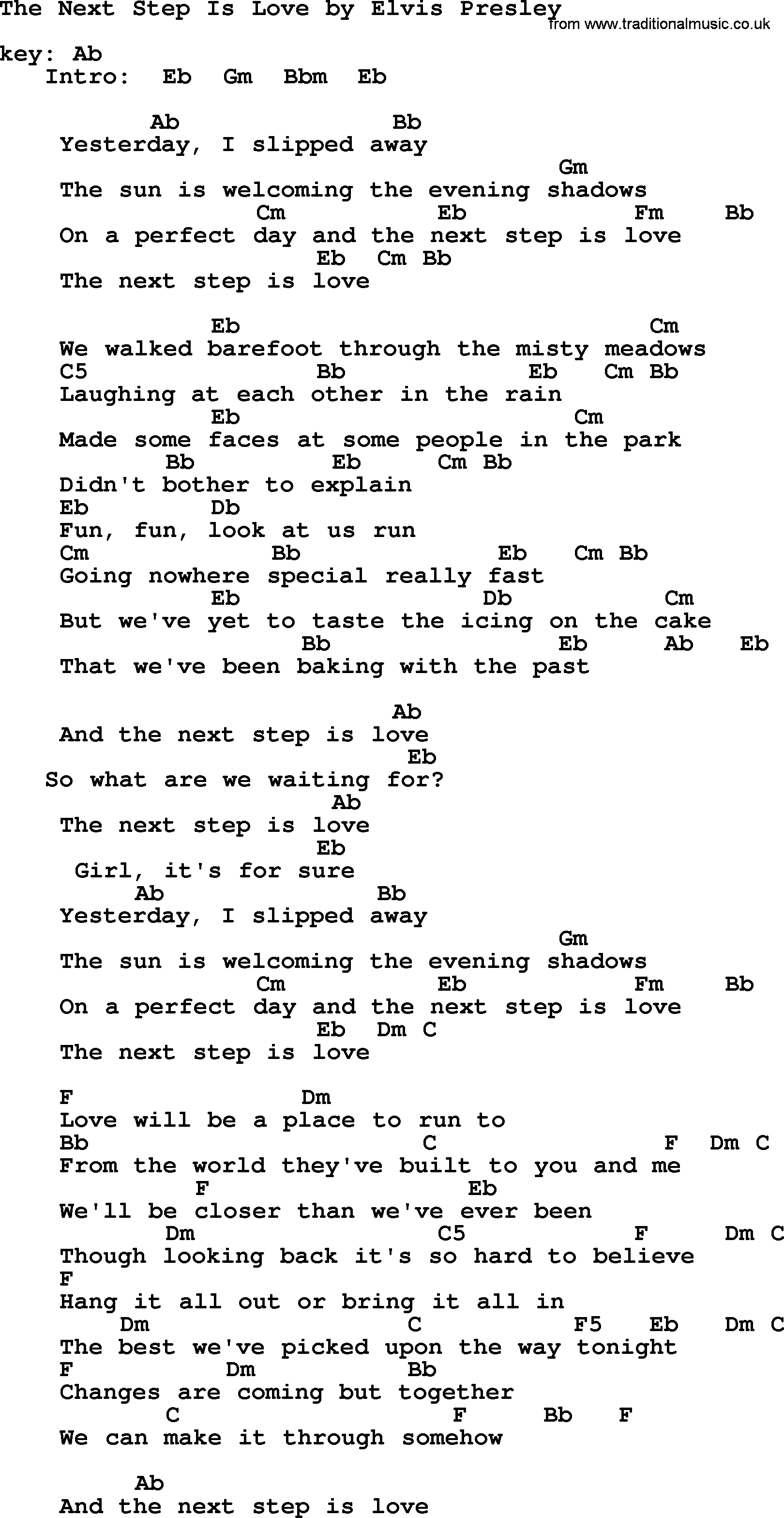 The Next Step Is Love, by Elvis Presley - lyrics and chords