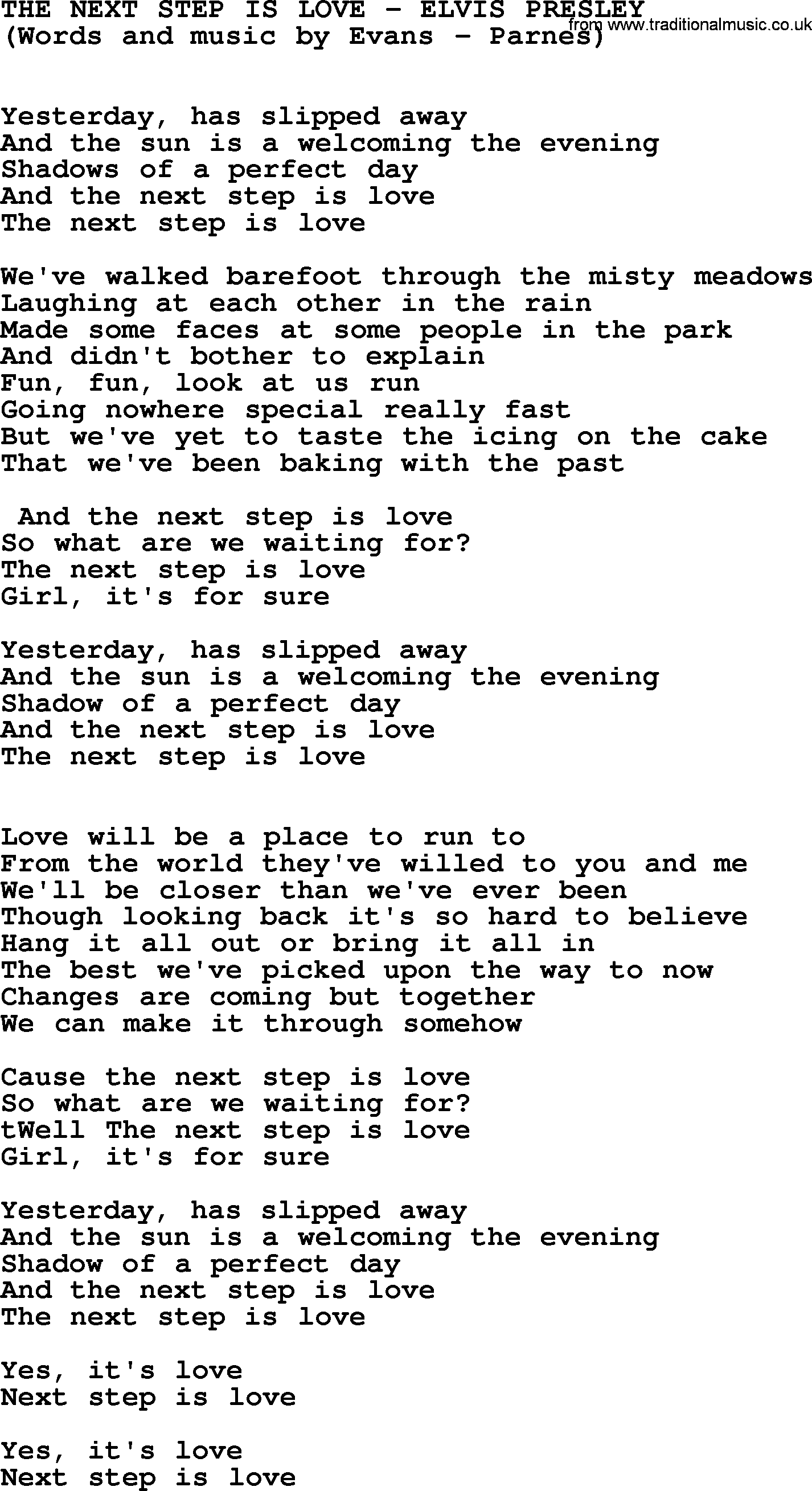 The Next Step Is Love by Elvis Presley - lyrics