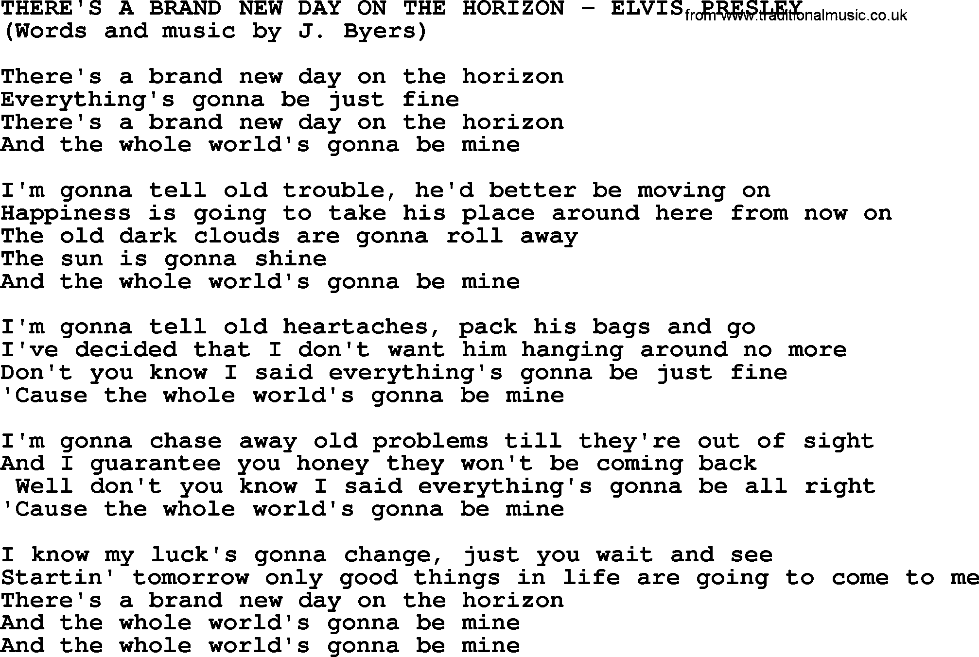 Theres A Brand New Day On The Horizon By Elvis Presley Lyrics