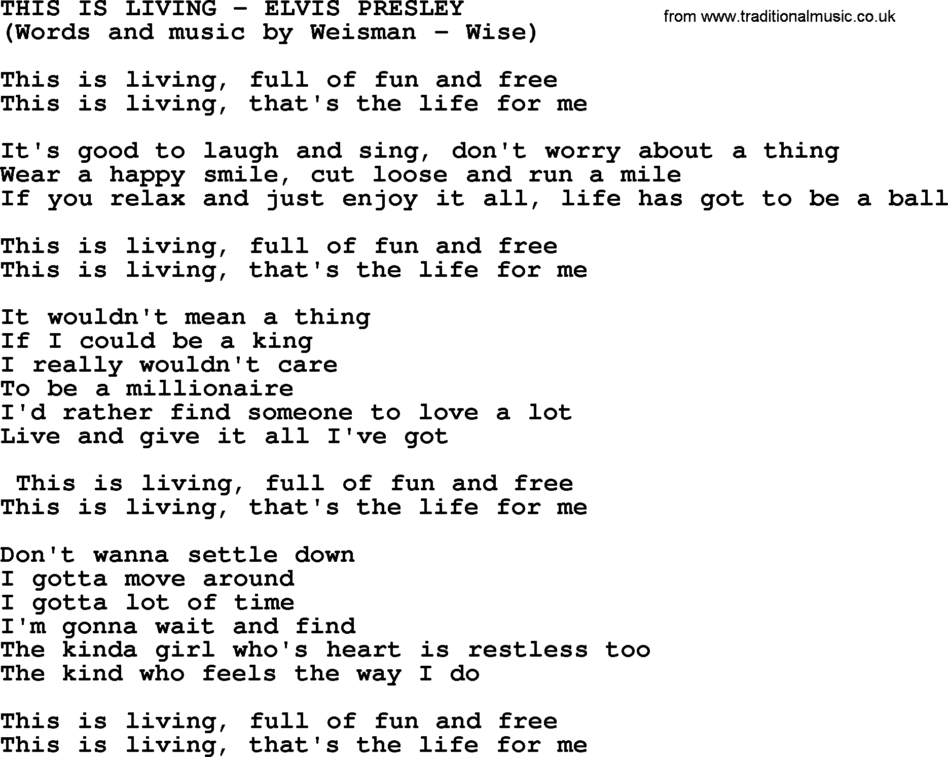Dont worry be happy guitar chords image collections guitar this is living by elvis presley lyrics elvis presley song this is living lyrics fatherlandz image hexwebz Images