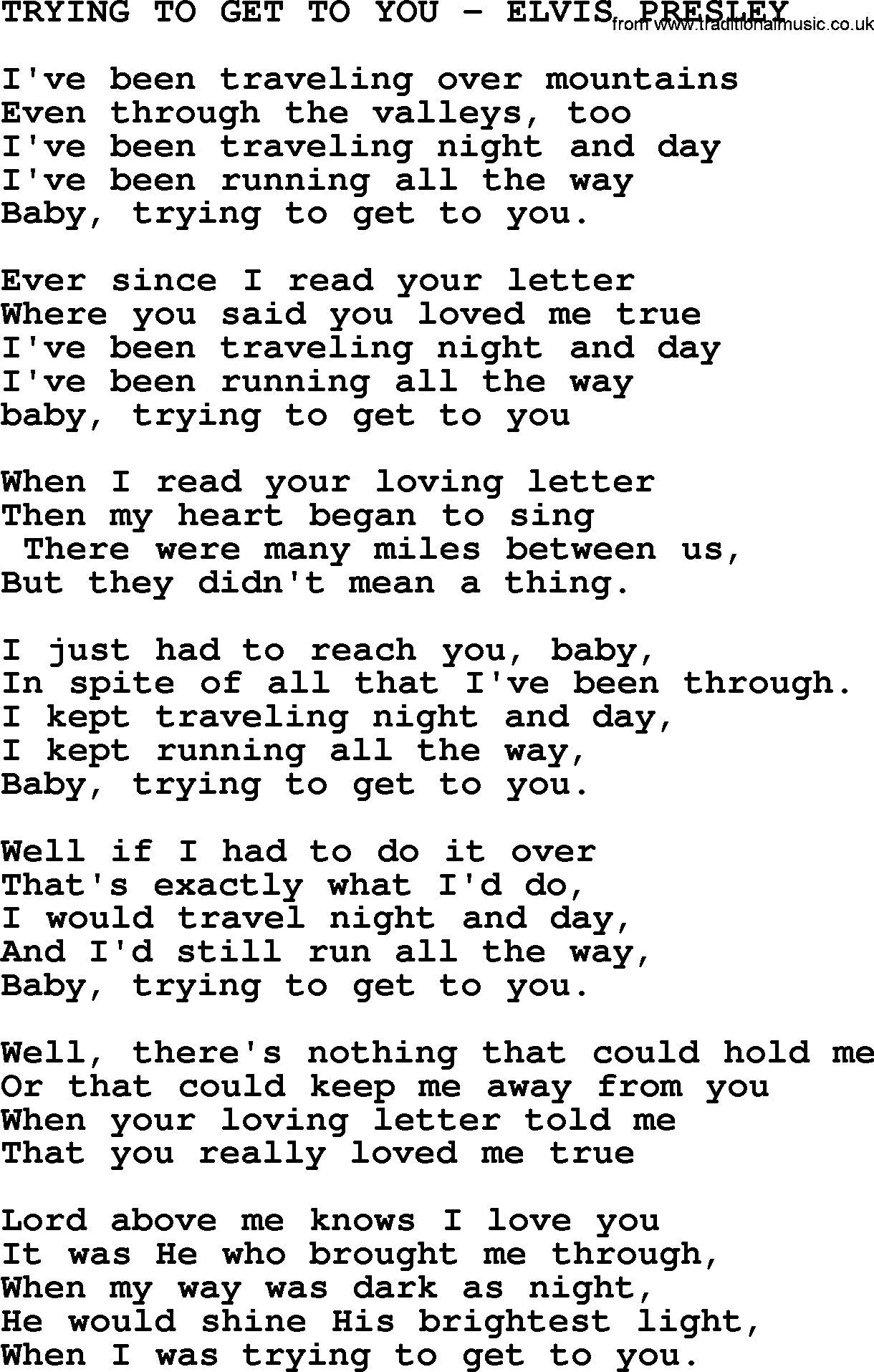 Elvis presley trying to get to you lyrics