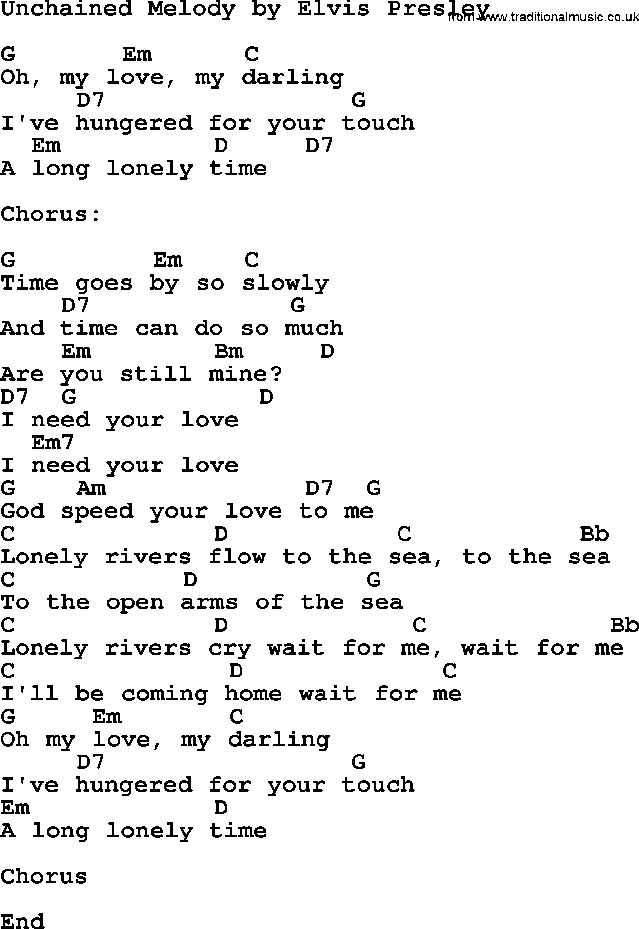 Unchained Melody By Elvis Presley Lyrics And Chords