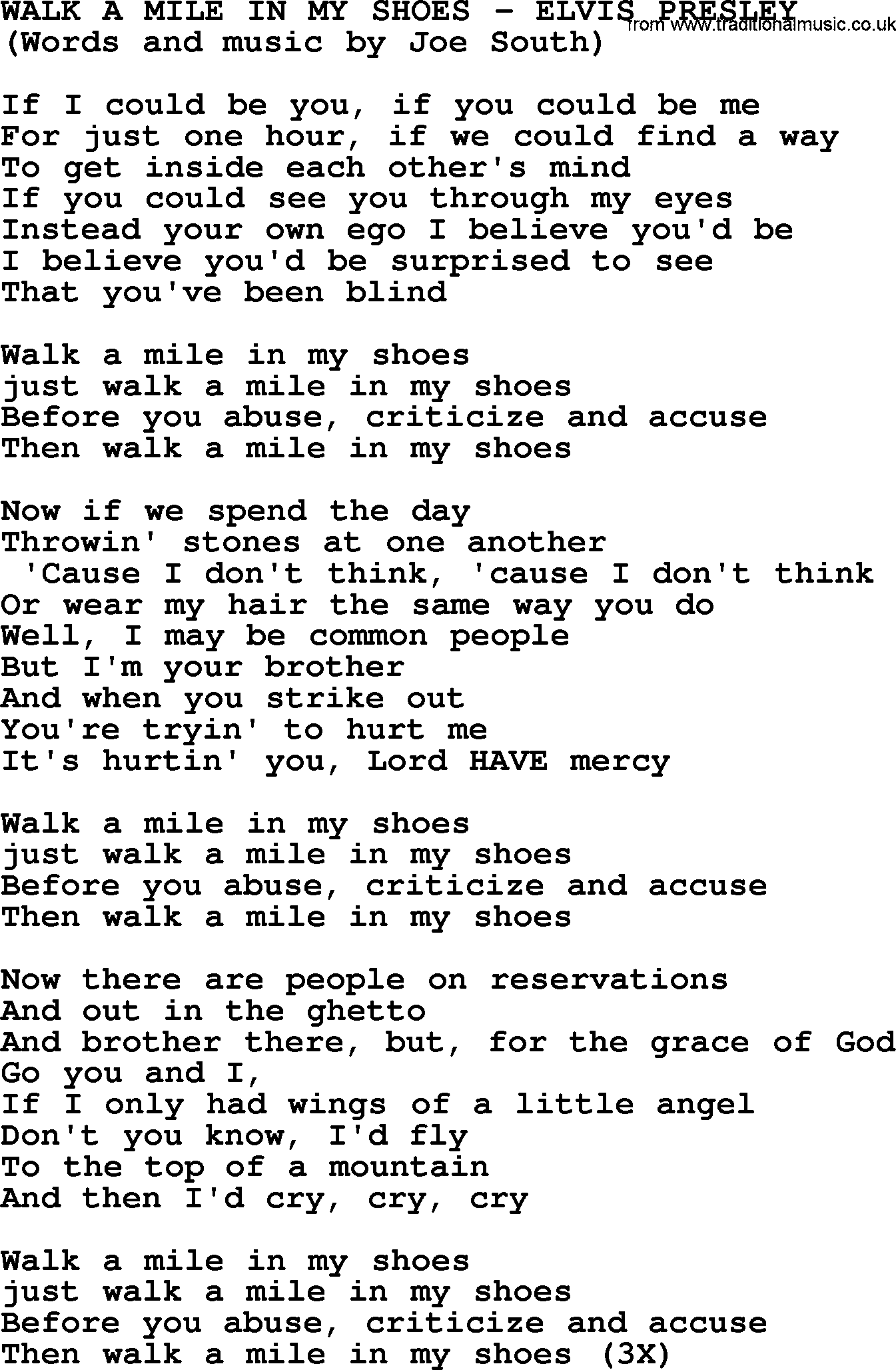 Walk In My Shoes Lyrics Elvis