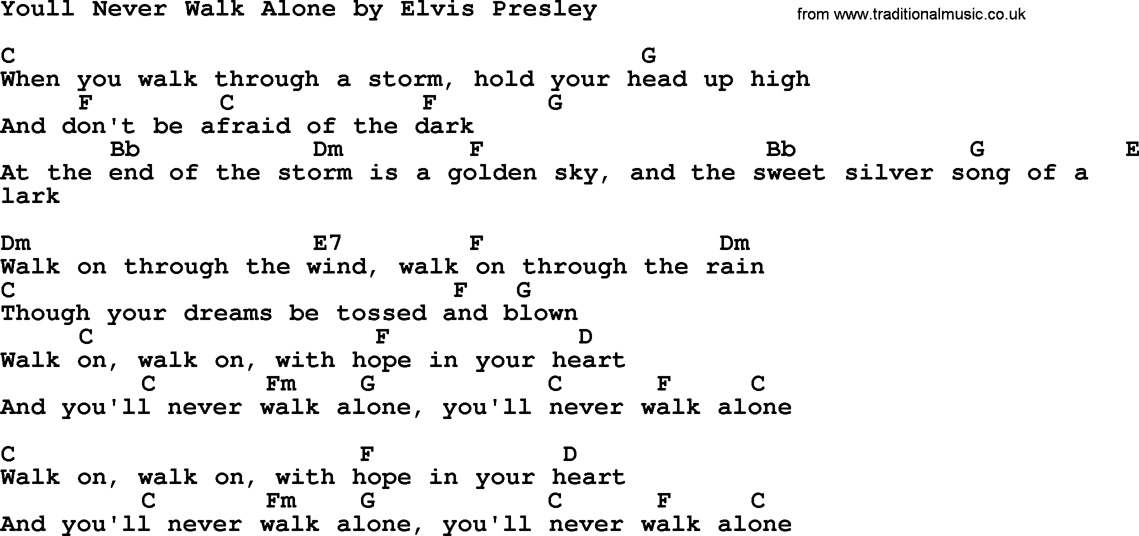 Youll Never Walk Alone By Elvis Presley Lyrics And Chords