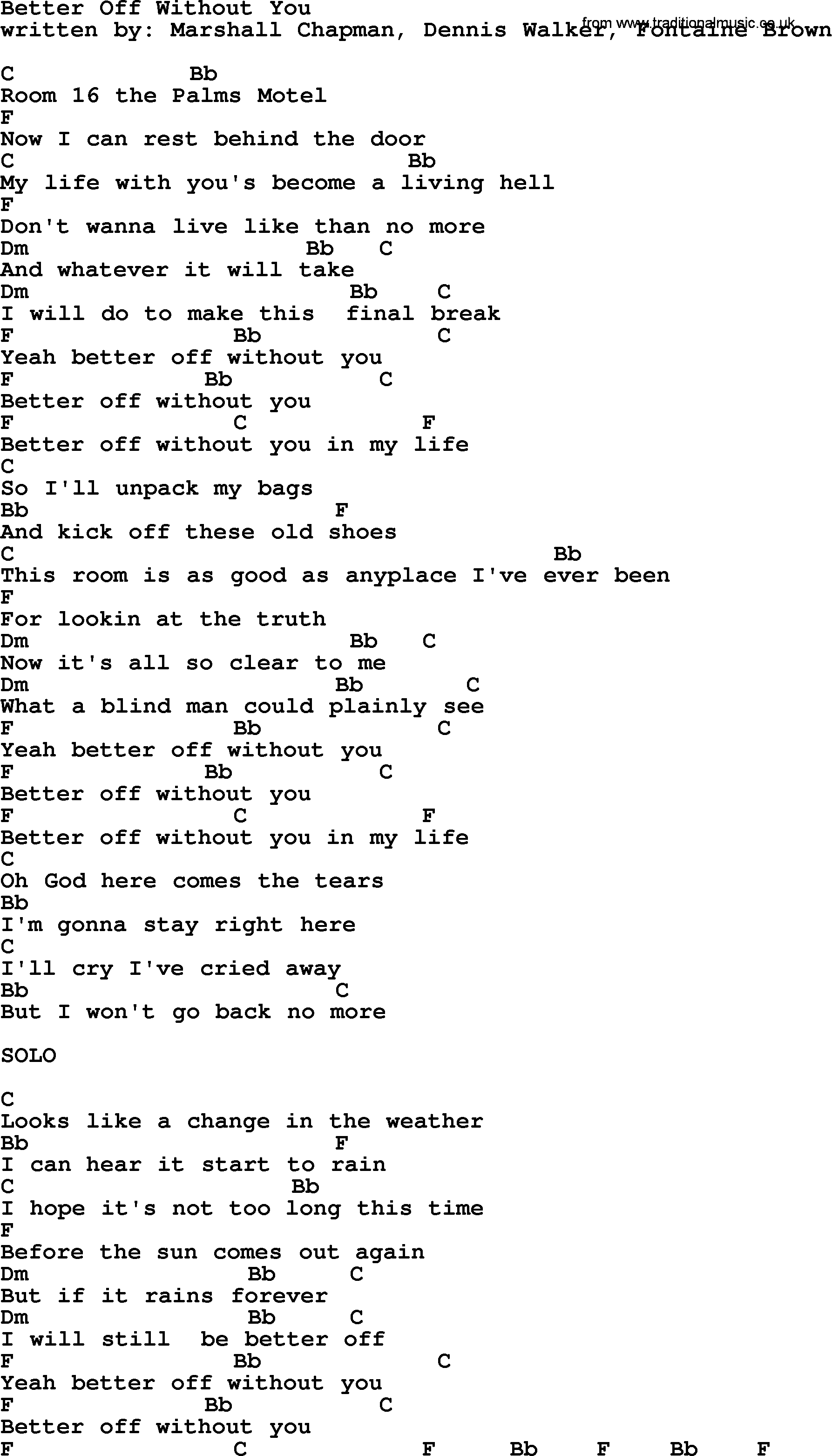 Emmylou Harris Song Better Off Without You Lyrics And Chords