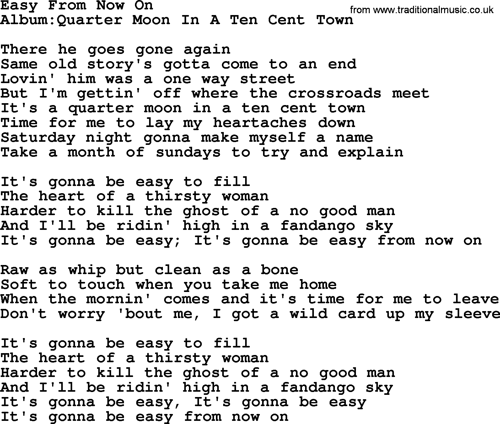 Emmylou Harris song: Easy From Now On, lyrics