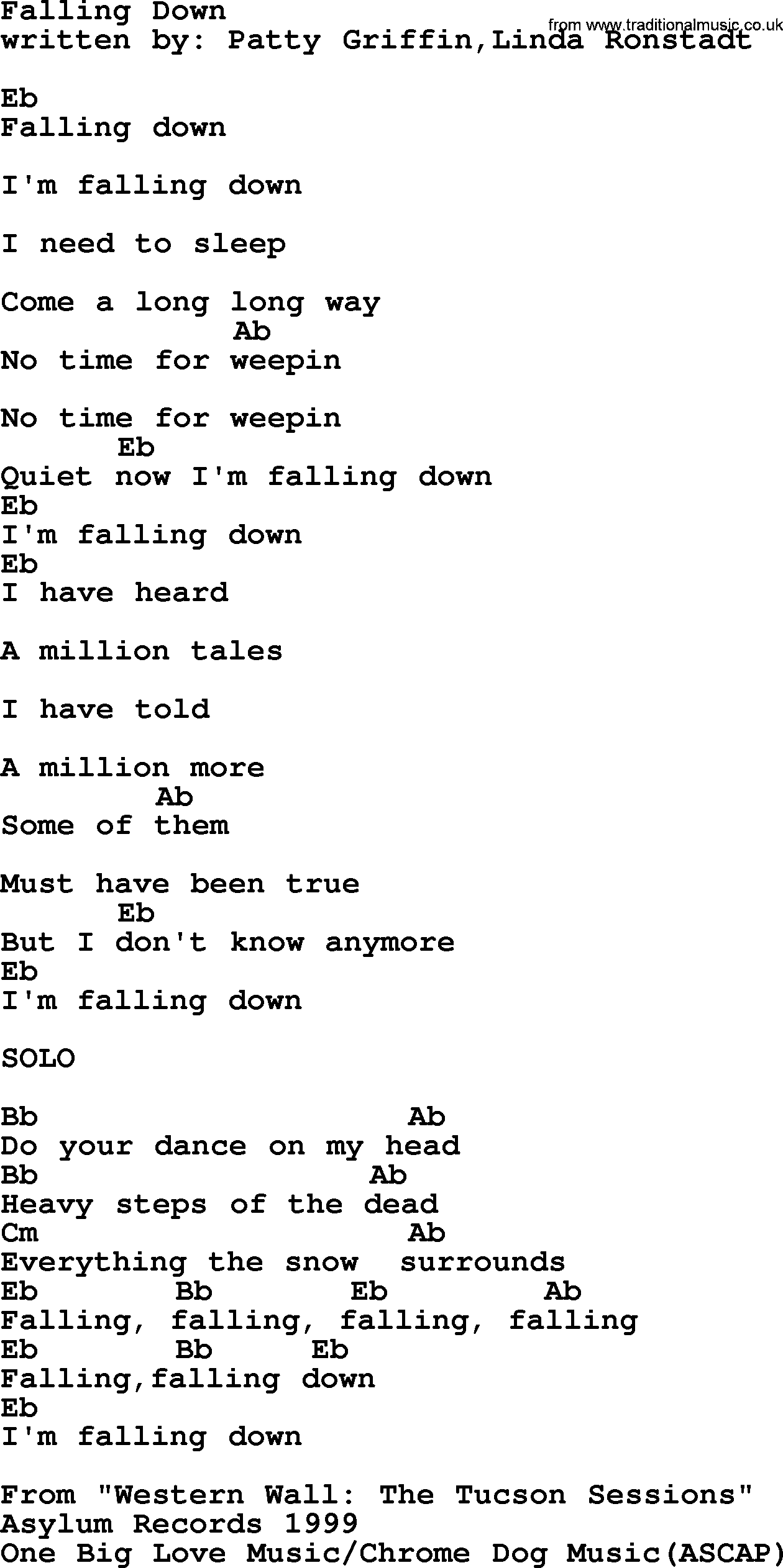 Emmylou Harris Song Falling Down Lyrics And Chords