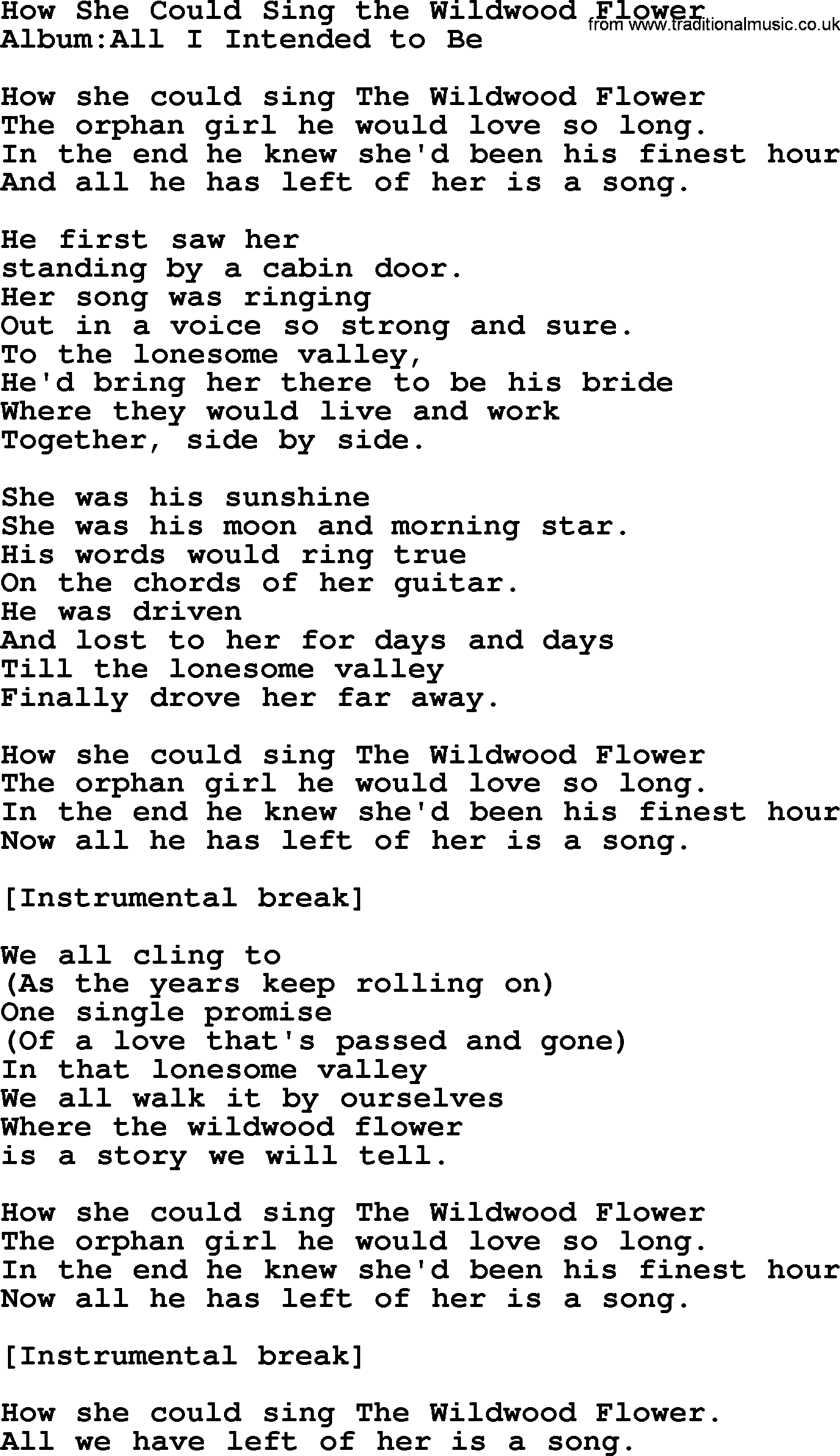 Emmylou Harris Song How She Could Sing The Wildwood Flower Lyrics
