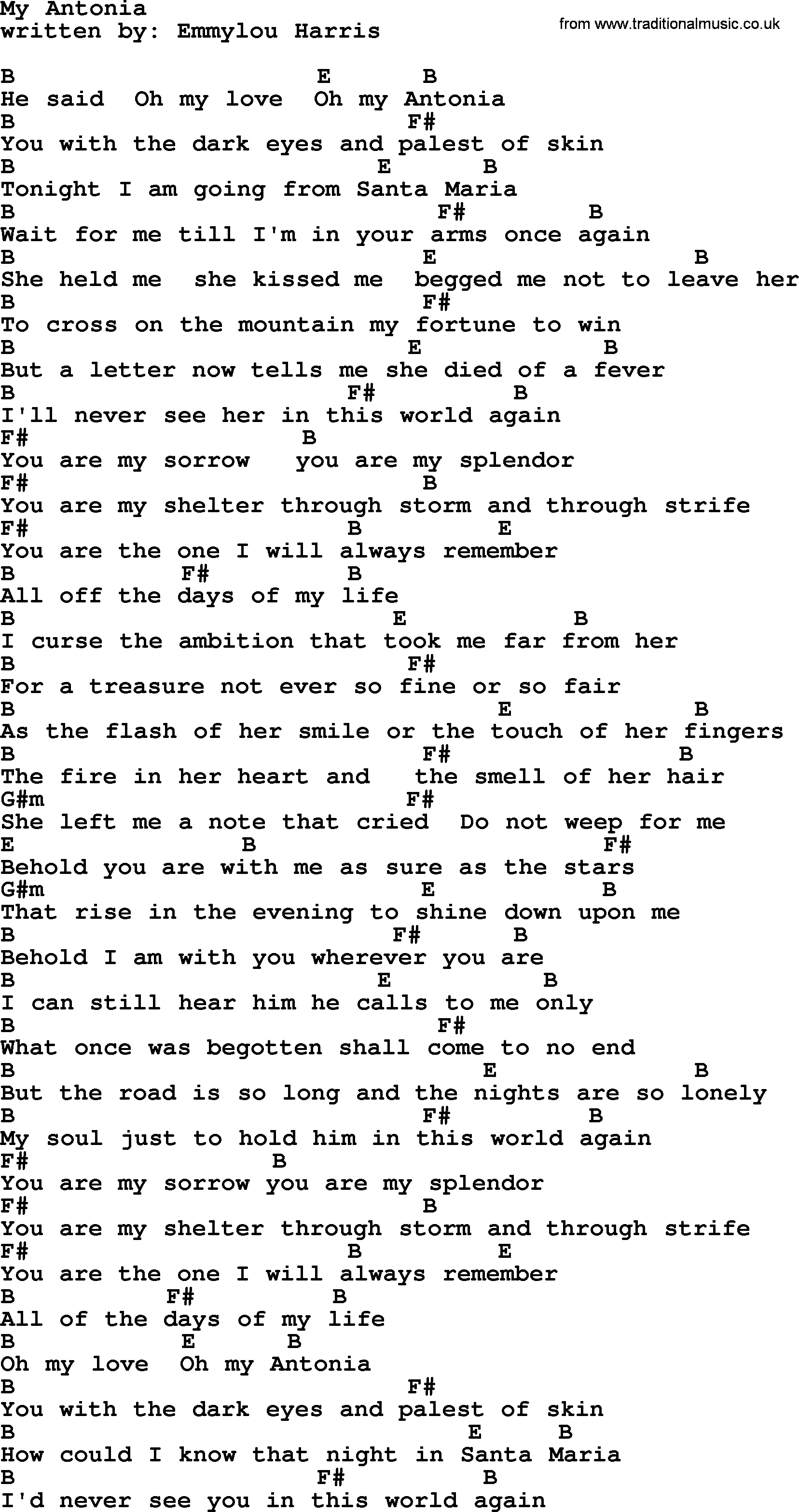 Emmylou Harris Song My Antonia Lyrics And Chords