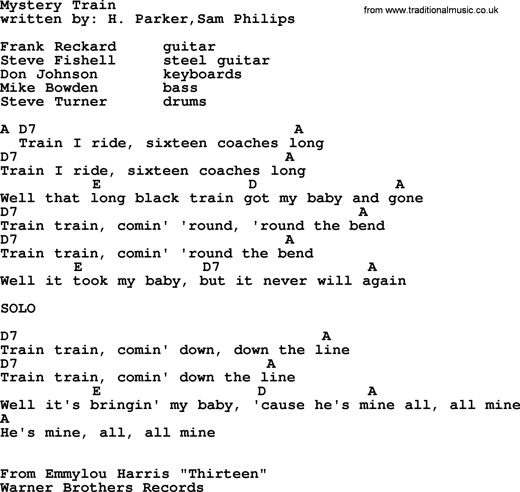 Mystery train guitar chords image collections guitar chords examples emmylou harris song mystery train lyrics and chords emmylou harris song mystery train lyrics and chords hexwebz Choice Image