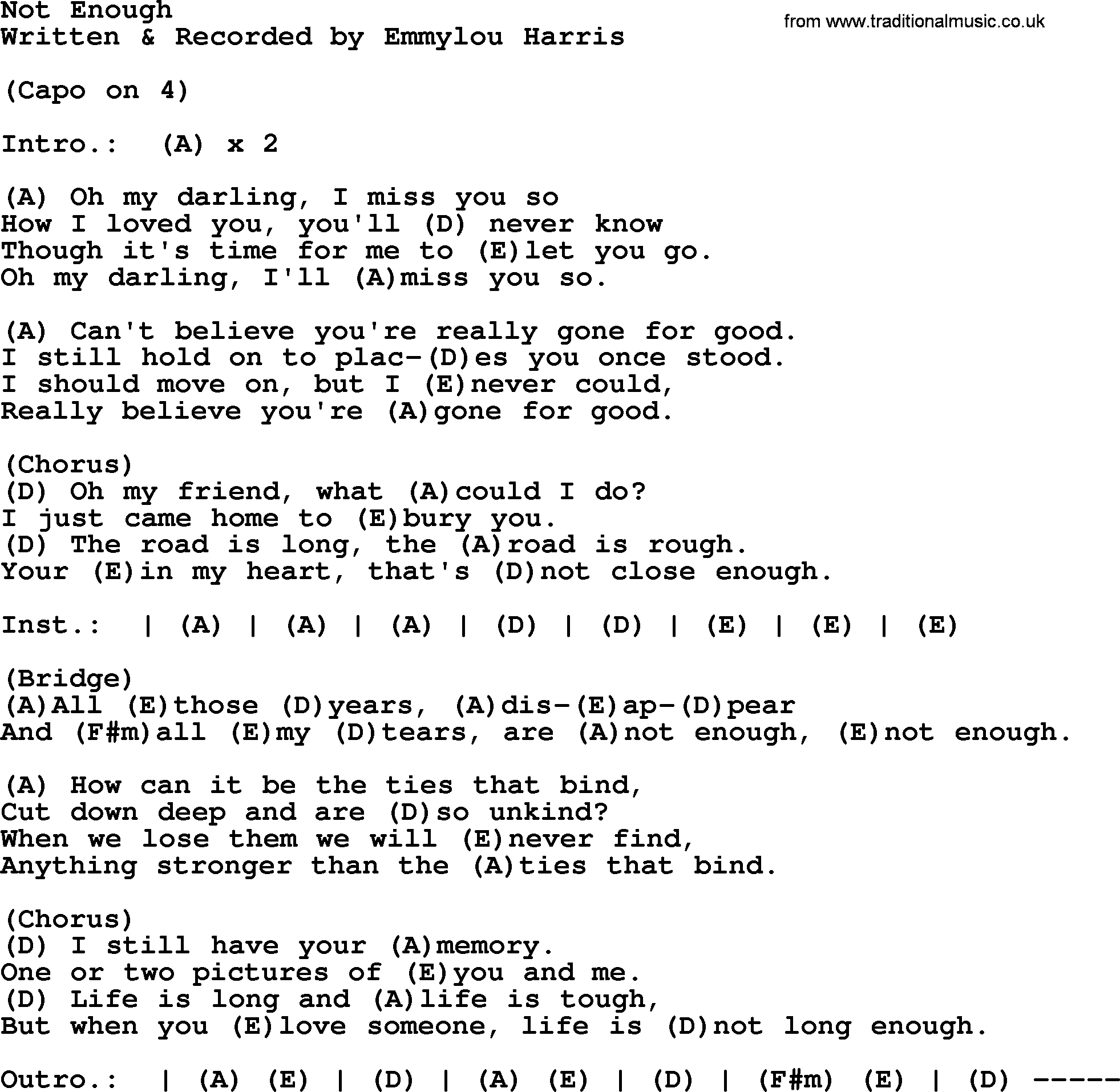 Emmylou Harris Song Not Enough Lyrics And Chords