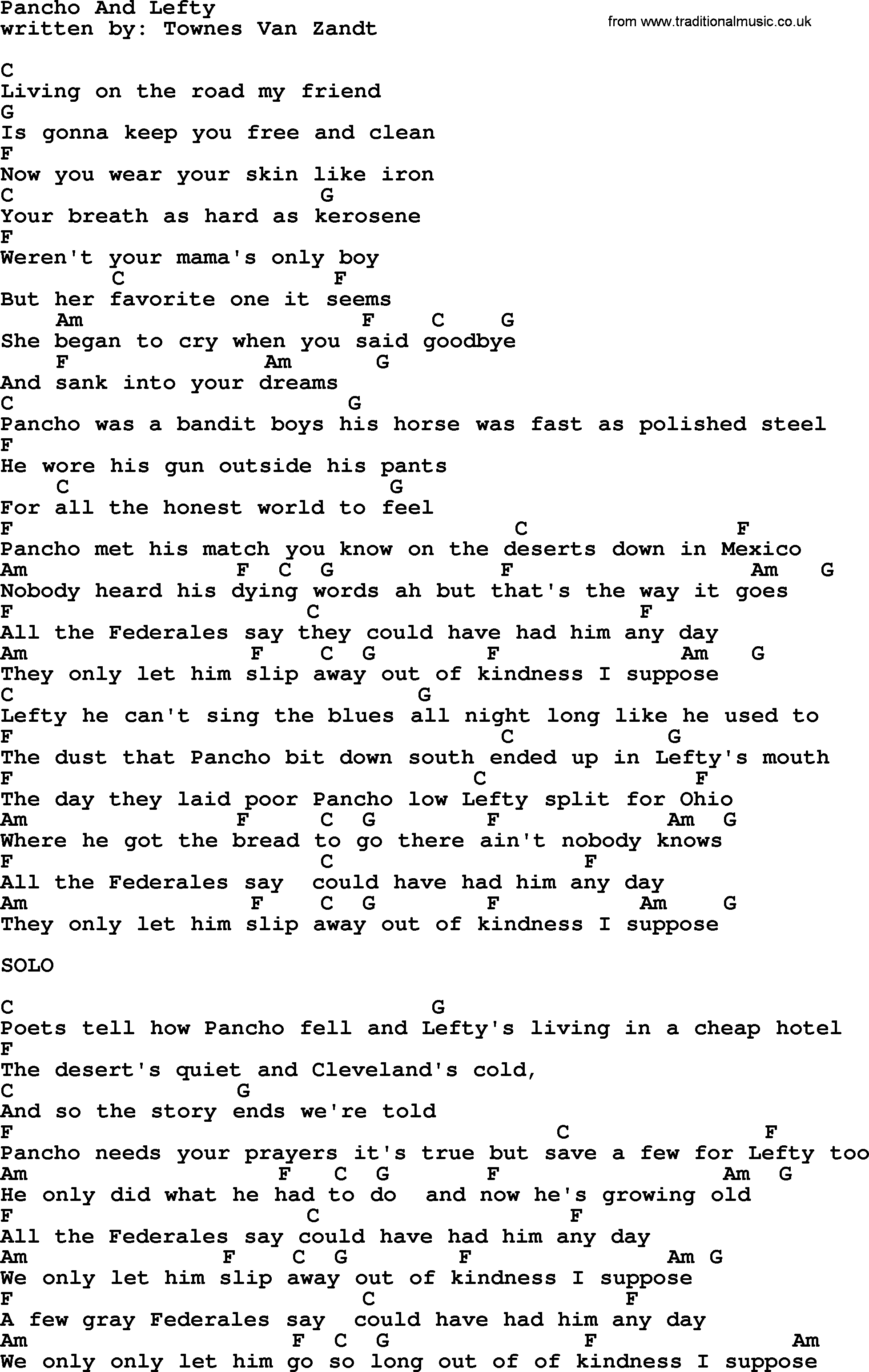 pancho and lefty lyrics