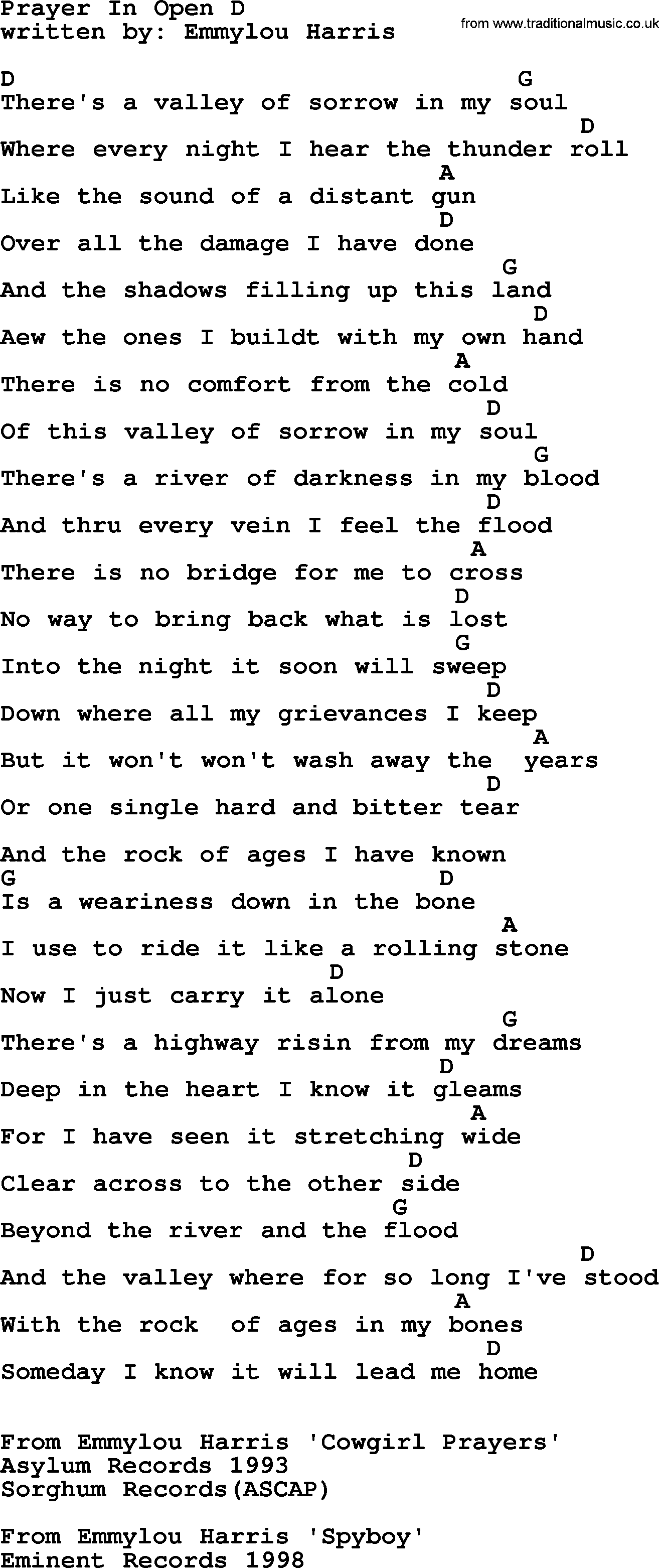 Emmylou Harris Song Prayer In Open D Lyrics And Chords
