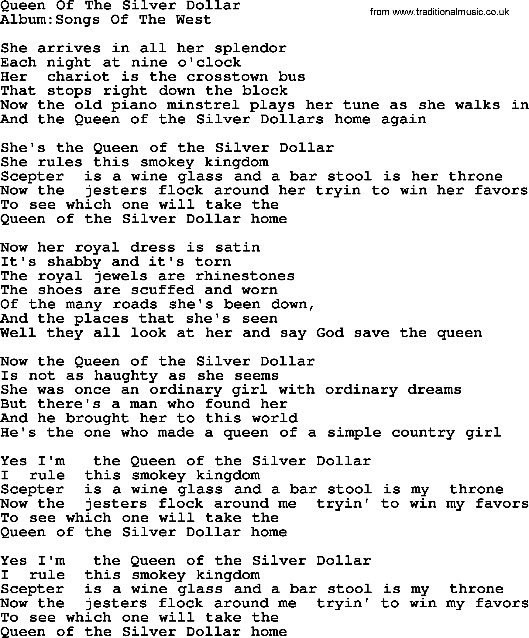Emmylou Harris song: Queen Of The Silver Dollar, lyrics