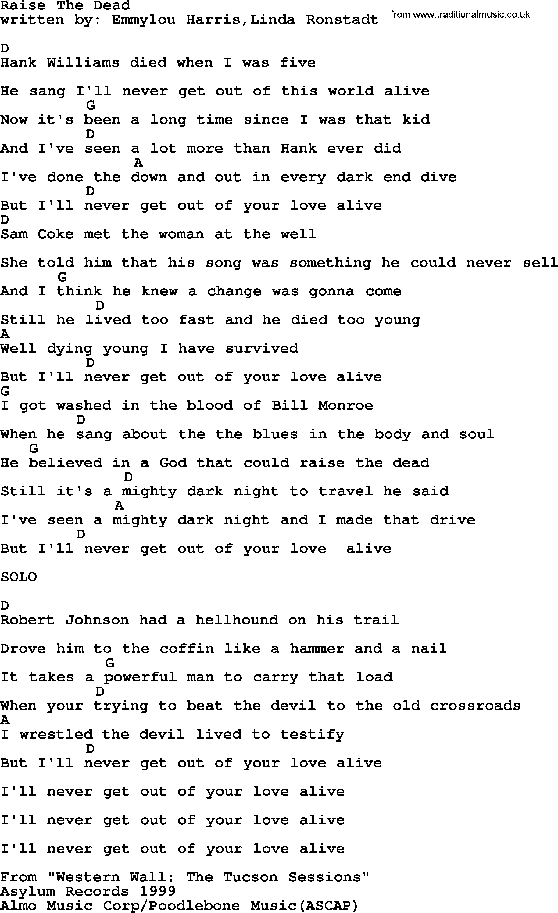 Emmylou Harris Song Raise The Dead Lyrics And Chords