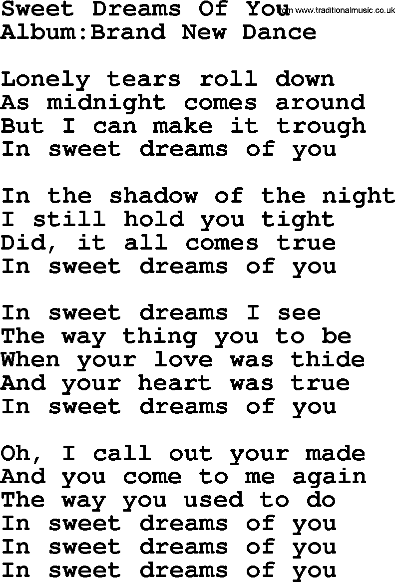 Emmylou Harris Song Sweet Dreams Of You Lyrics