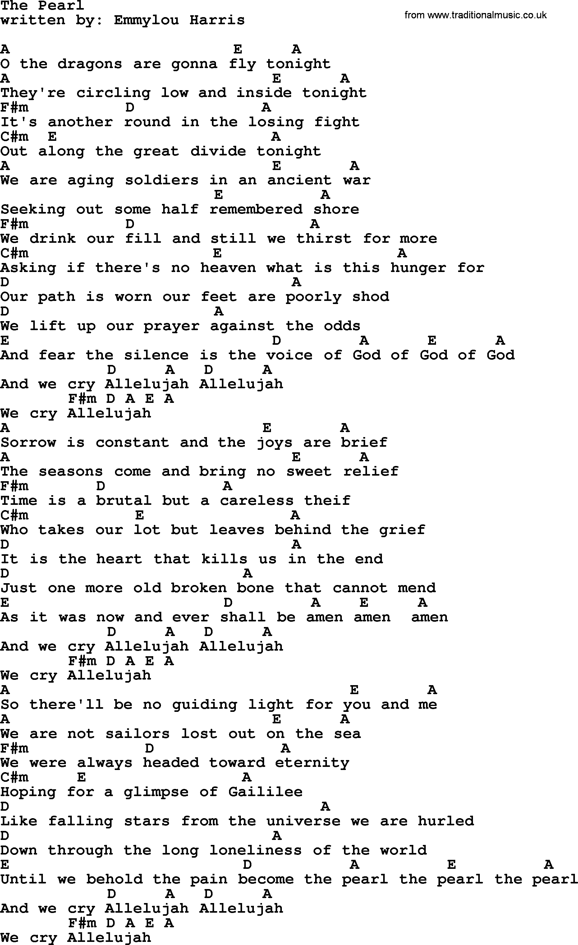 Emmylou Harris Song The Pearl Lyrics And Chords