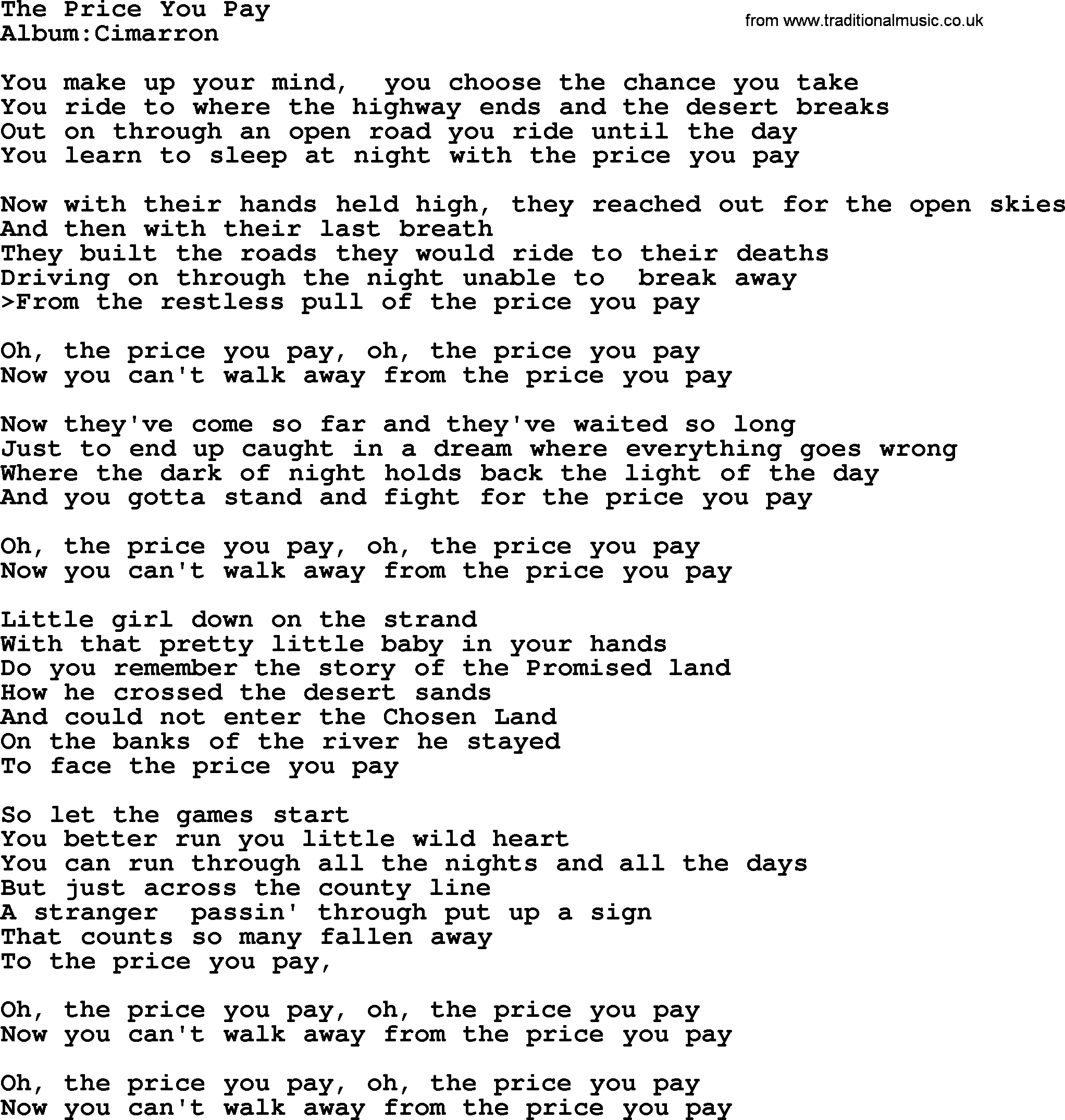 Emmylou Harris song: The Price You Pay, lyrics