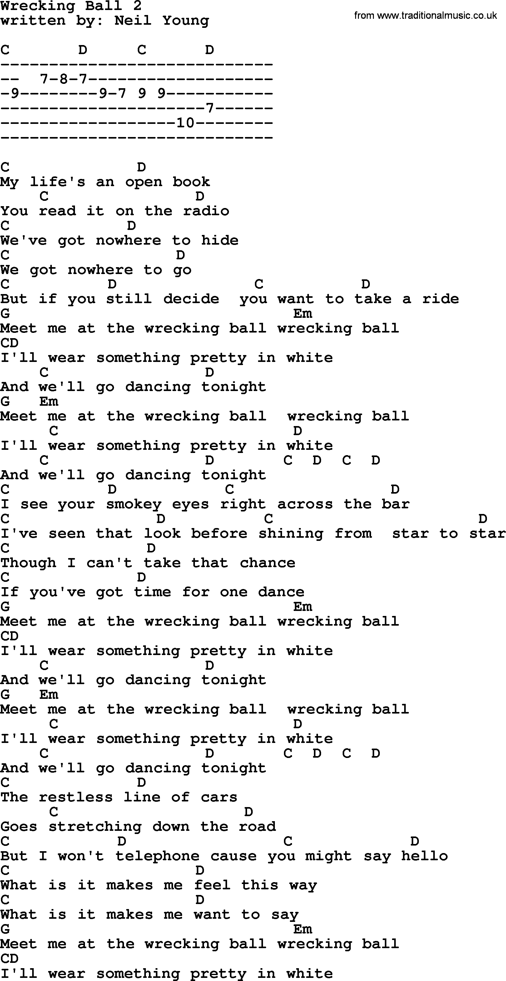 Emmylou Harris song: Wrecking Ball 2, lyrics and chords