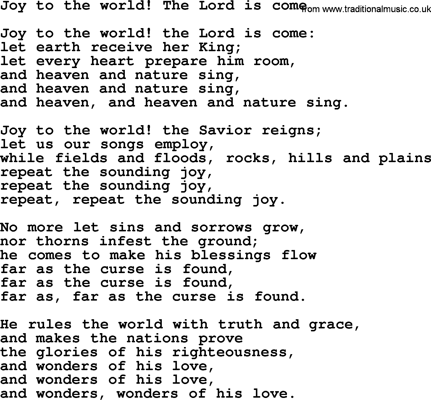 Epiphany Hymns, Song: Joy To The World! The Lord Is Come ...