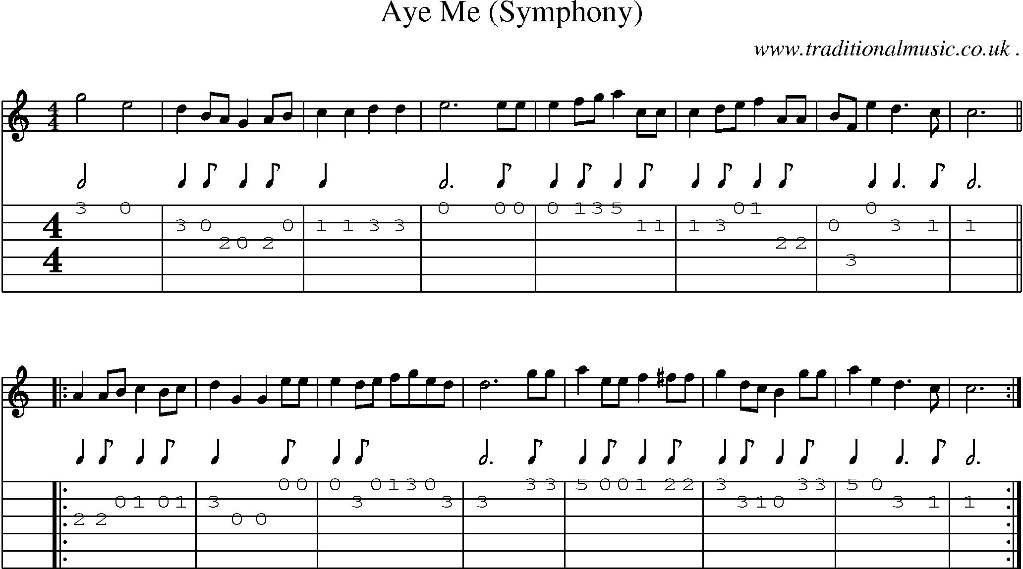 Folk and Traditional Music, Sheet-Music, Guitar tab, mp3 audio, midi and PDF for: Aye Me (symphony)