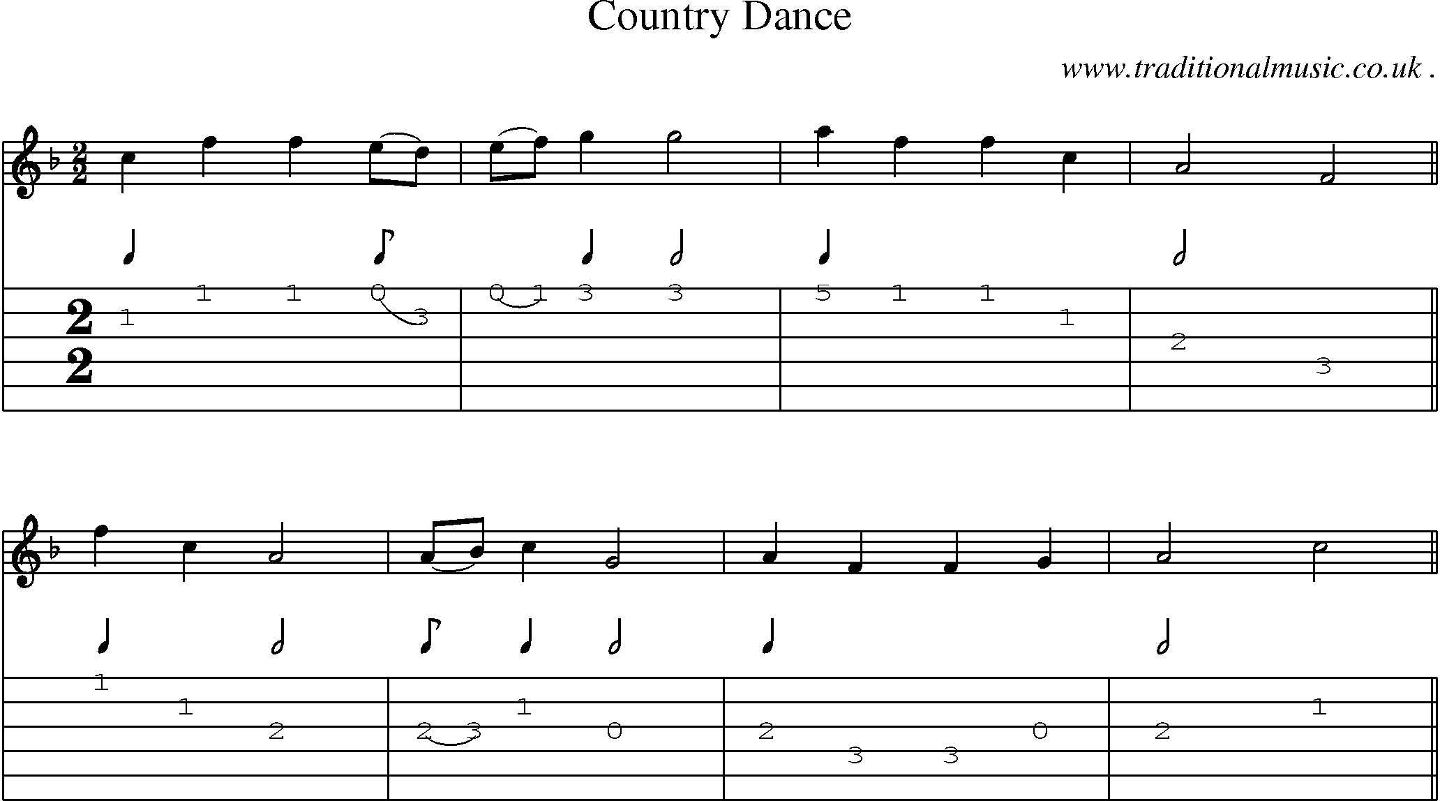 Folk and Traditional Music, Sheet-Music, Guitar tab, mp3 audio, midi and PDF for: Country Dance