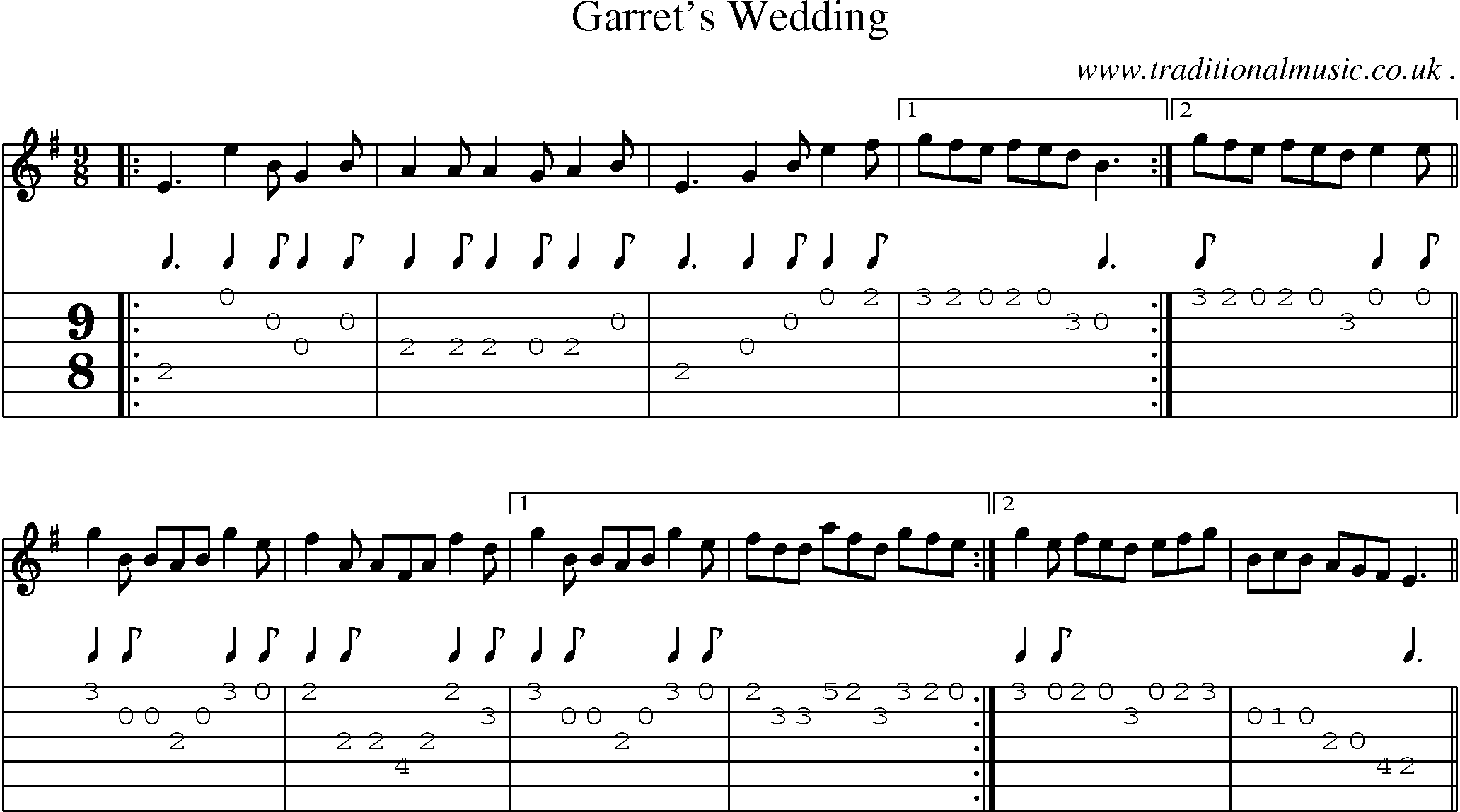 Folk And Traditional Music Sheet Music Guitar Tab Mp3 Audio Midi And PDF For Garrets Wedding