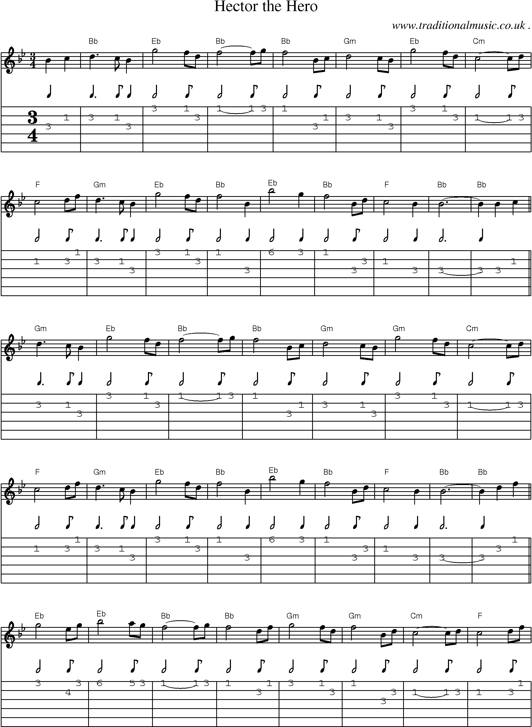 Folk and Traditional Music, Sheet-Music, Guitar tab, mp3 audio, midi and PDF for: Hector The Hero