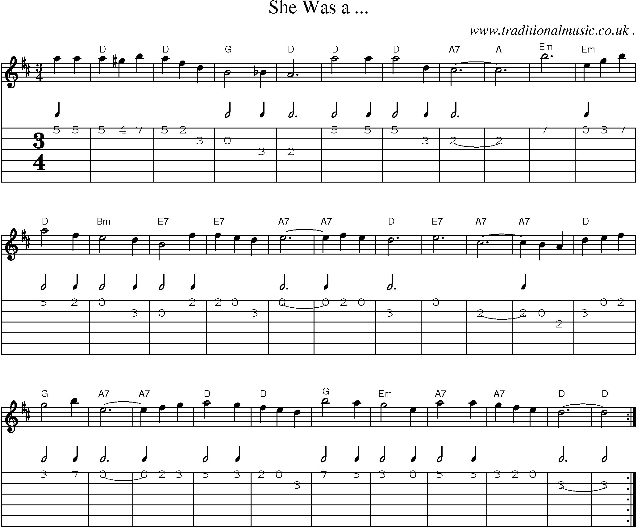 folk and traditional music sheet music guitar tab mp3 audio midi and pdf for she was a. Black Bedroom Furniture Sets. Home Design Ideas
