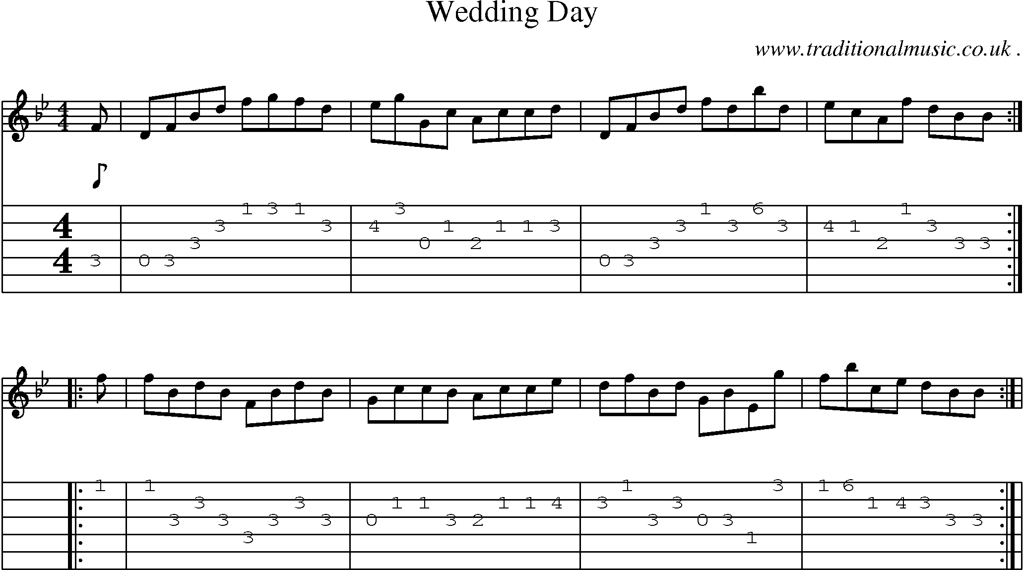Folk And Traditional Music Sheet Music Guitar Tab Mp3 Audio Midi And PDF For Wedding Day