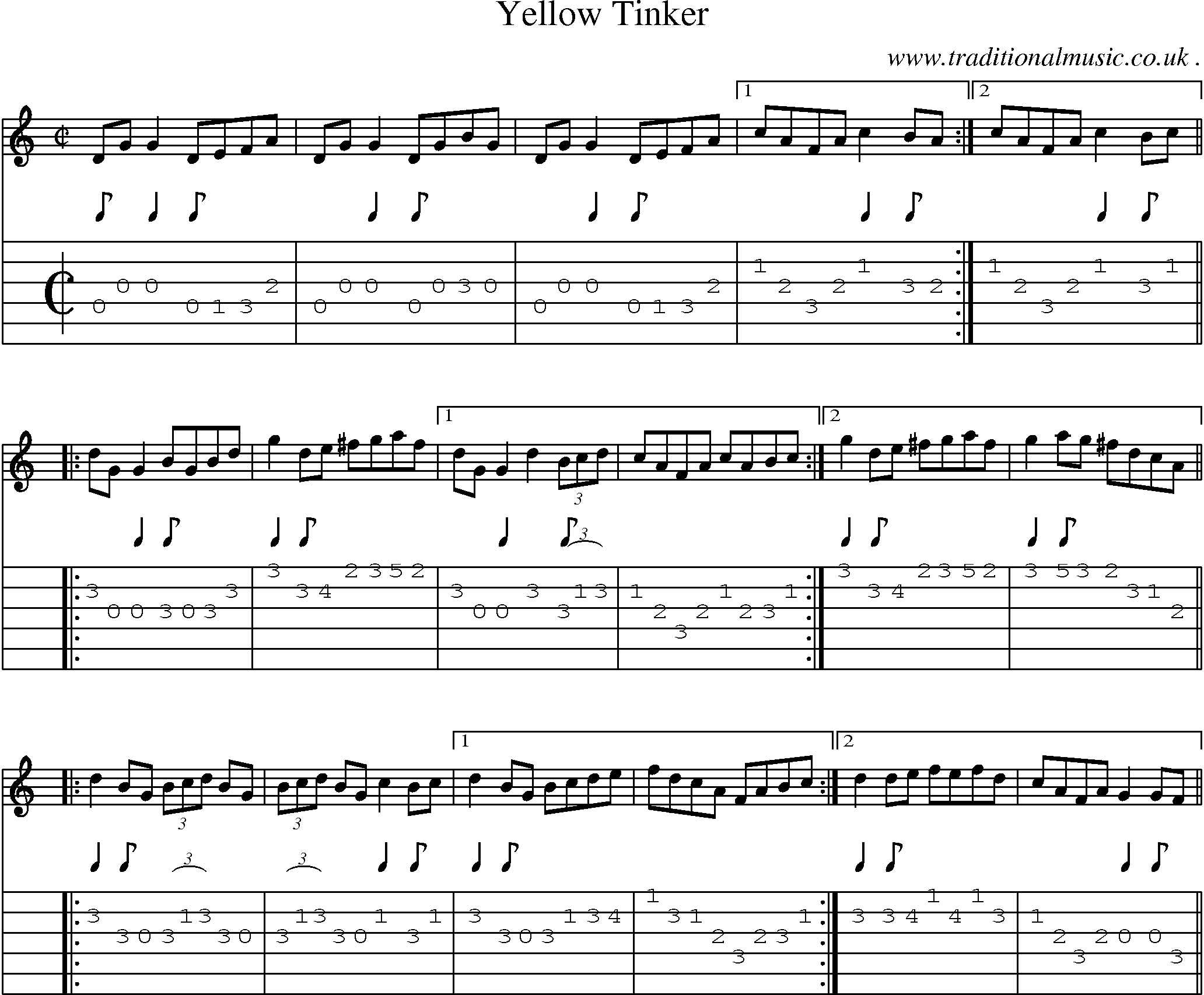 Folk and Traditional Music, Sheet-Music, Guitar tab, mp3 audio, midi and PDF for: Yellow Tinker