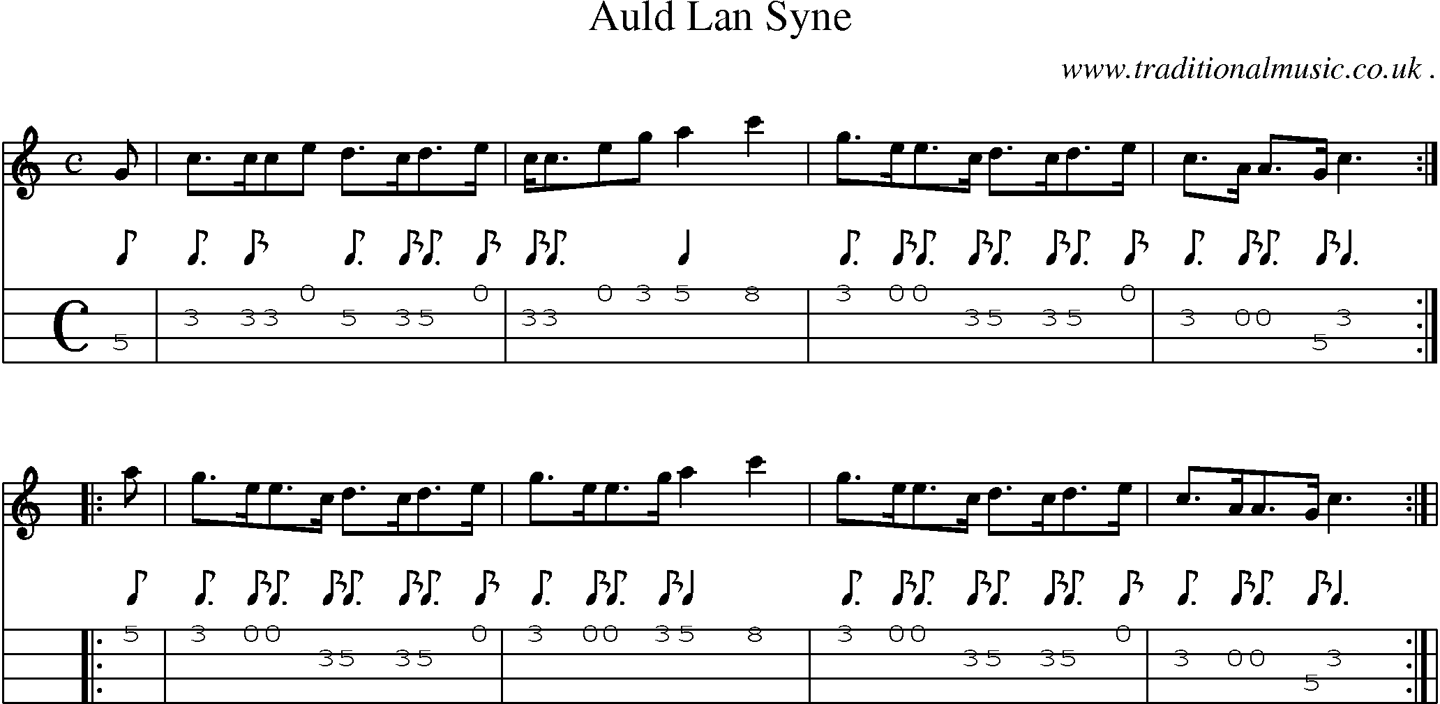 Folk and Traditional Music, Sheet-Music, Mandolin tab, midi, mp3 and PDF for: Auld Lan Syne