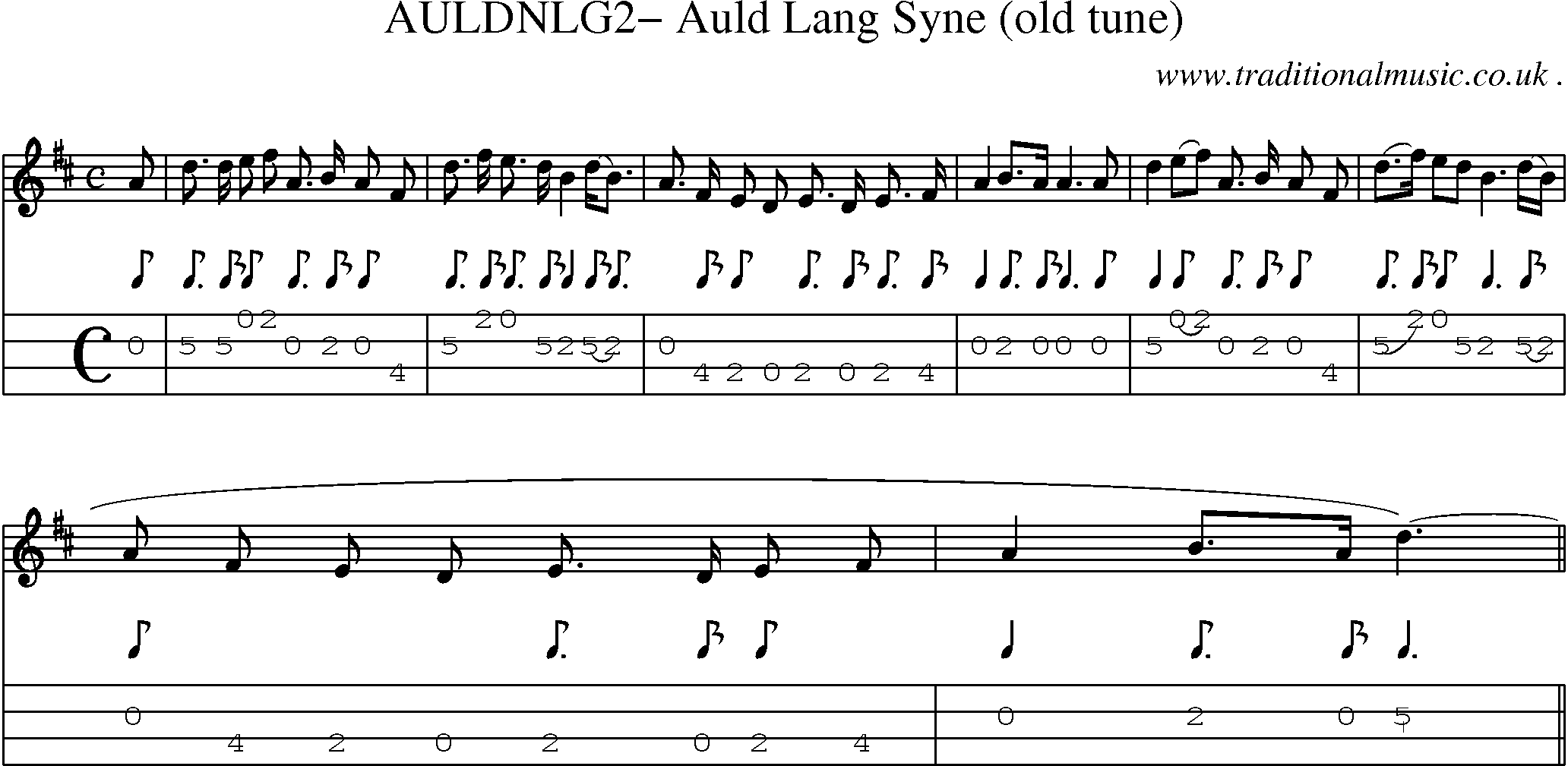 Folk and Traditional Music, Sheet-Music, Mandolin tab, midi, mp3 and PDF for: Auldnlg2 Auld Lang ...
