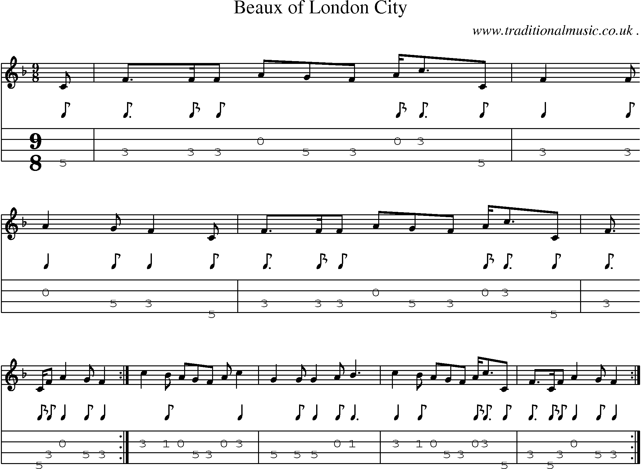 Folk and Traditional Music, Sheet-Music, Mandolin tab, midi, mp3 and PDF for: Beaux Of London City