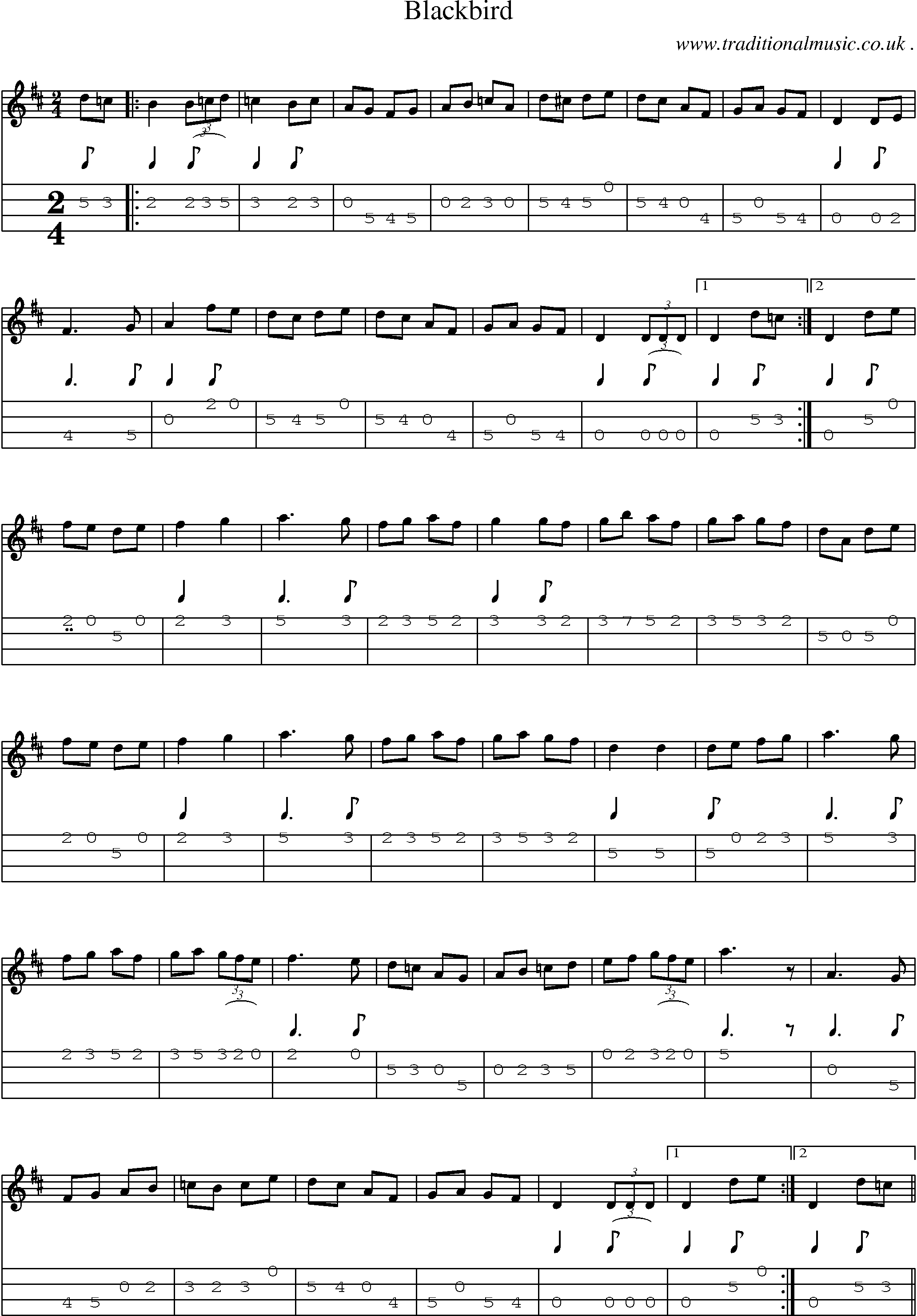 Folk and Traditional Music, Sheet-Music, Mandolin tab, midi, mp3 and PDF for: Blackbird