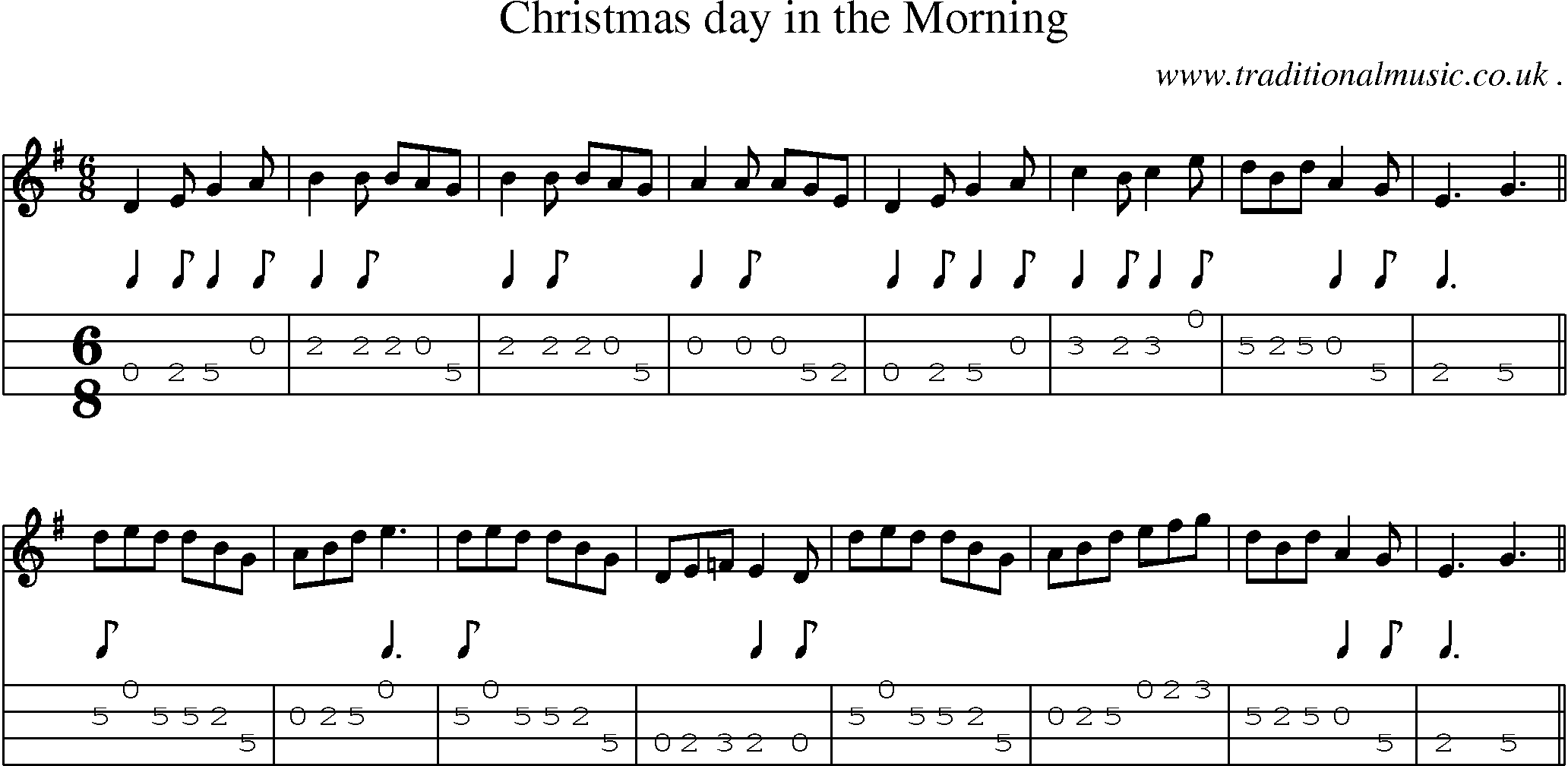 Folk and Traditional Music, Sheet-Music, Mandolin tab, midi, mp3 and PDF for: Christmas Day In ...